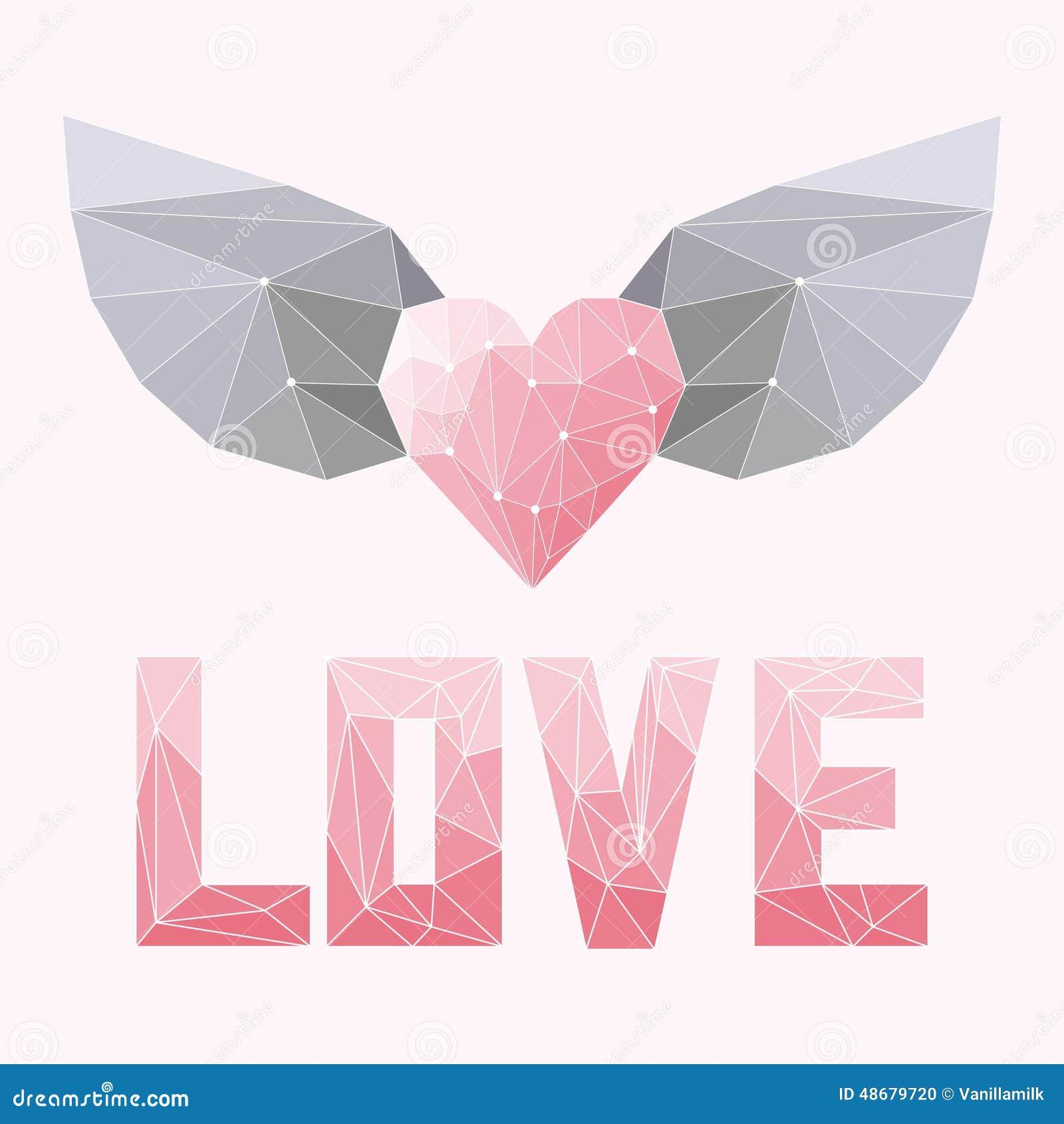 Le doux géométrique a coloré le coeur polygonal abstrait avec des ailes et le mot d amour d isolement sur la couverture rose pour