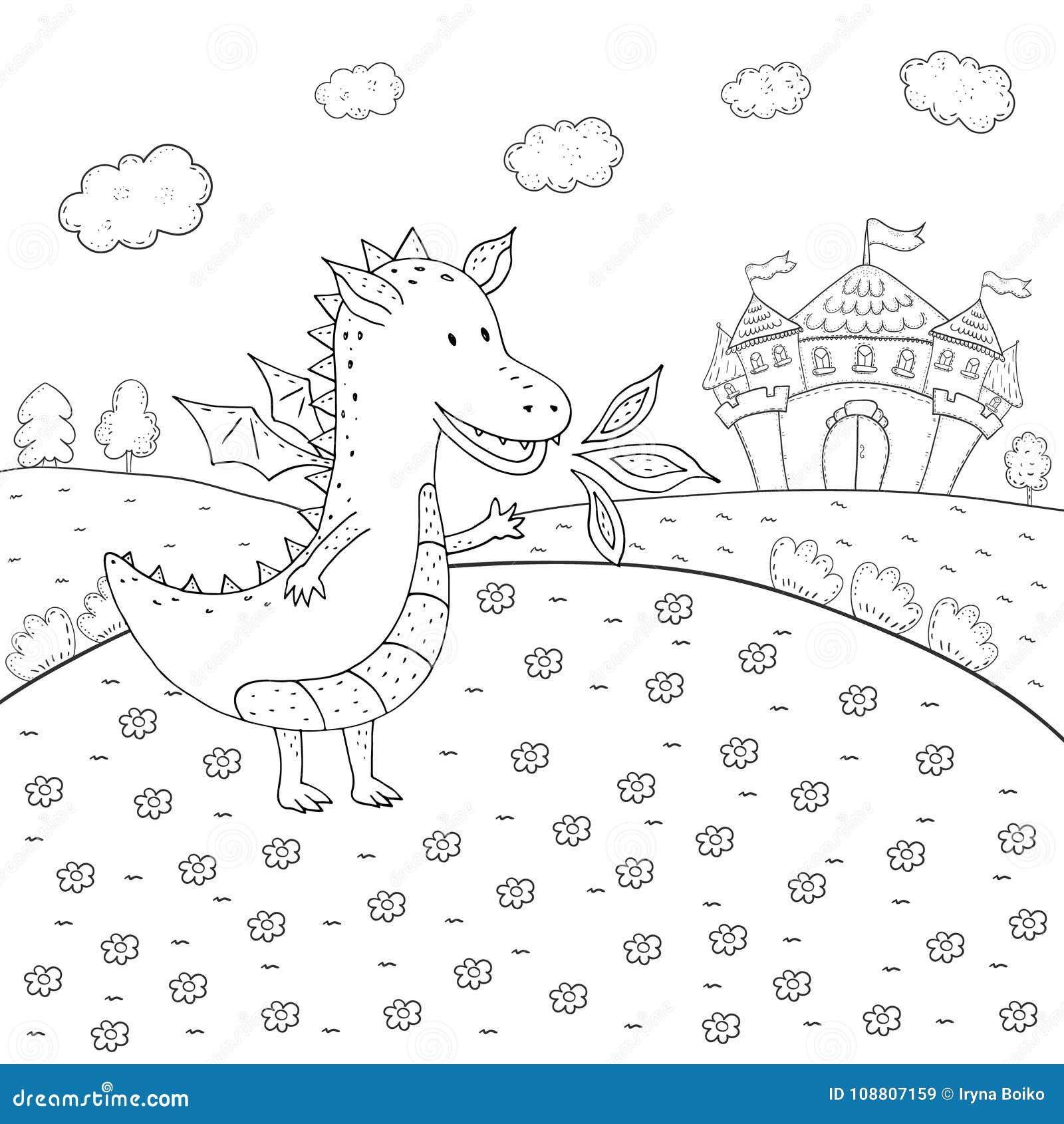 Le Dragon De Conte De Fees De Livre De Coloriage Et Le Chateau De