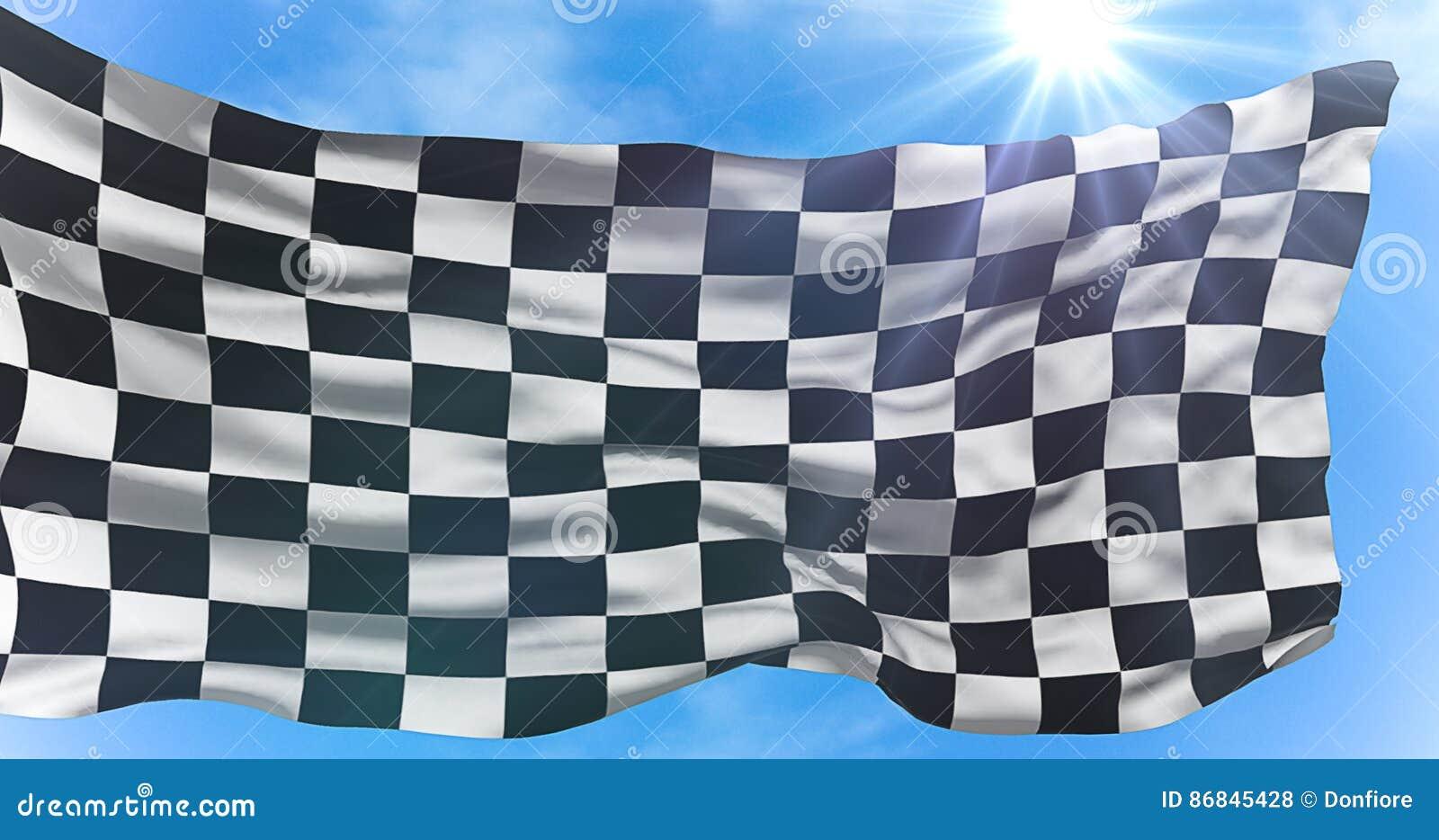 Le drapeau à carreaux, le fond de course d extrémité, concurrence de Formule 1 sous le soleil rayonne la lumière