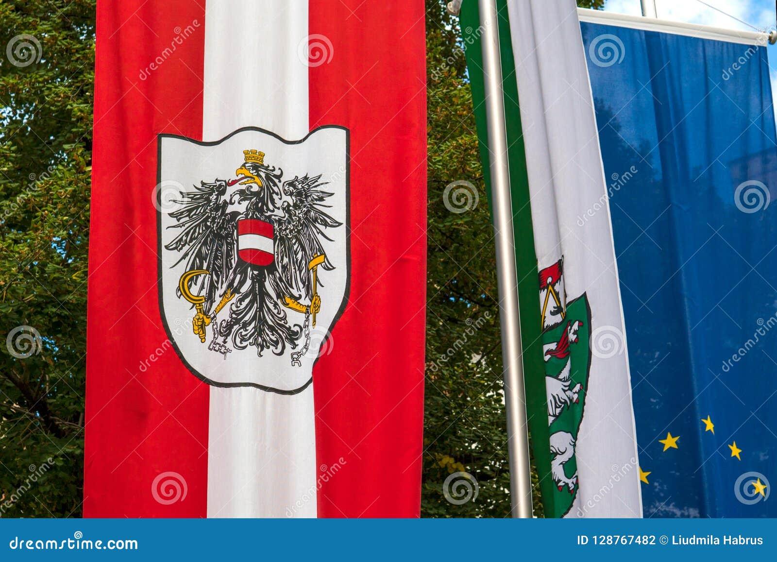 Le drapeau autrichien avec le manteau des bras se développe dans le vent