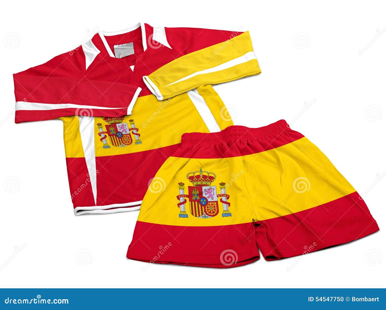 Le drapeau d 39 espagne sur les v tements de sport en nylon du football v tx photo stock image - Drapeau d espagne a colorier ...