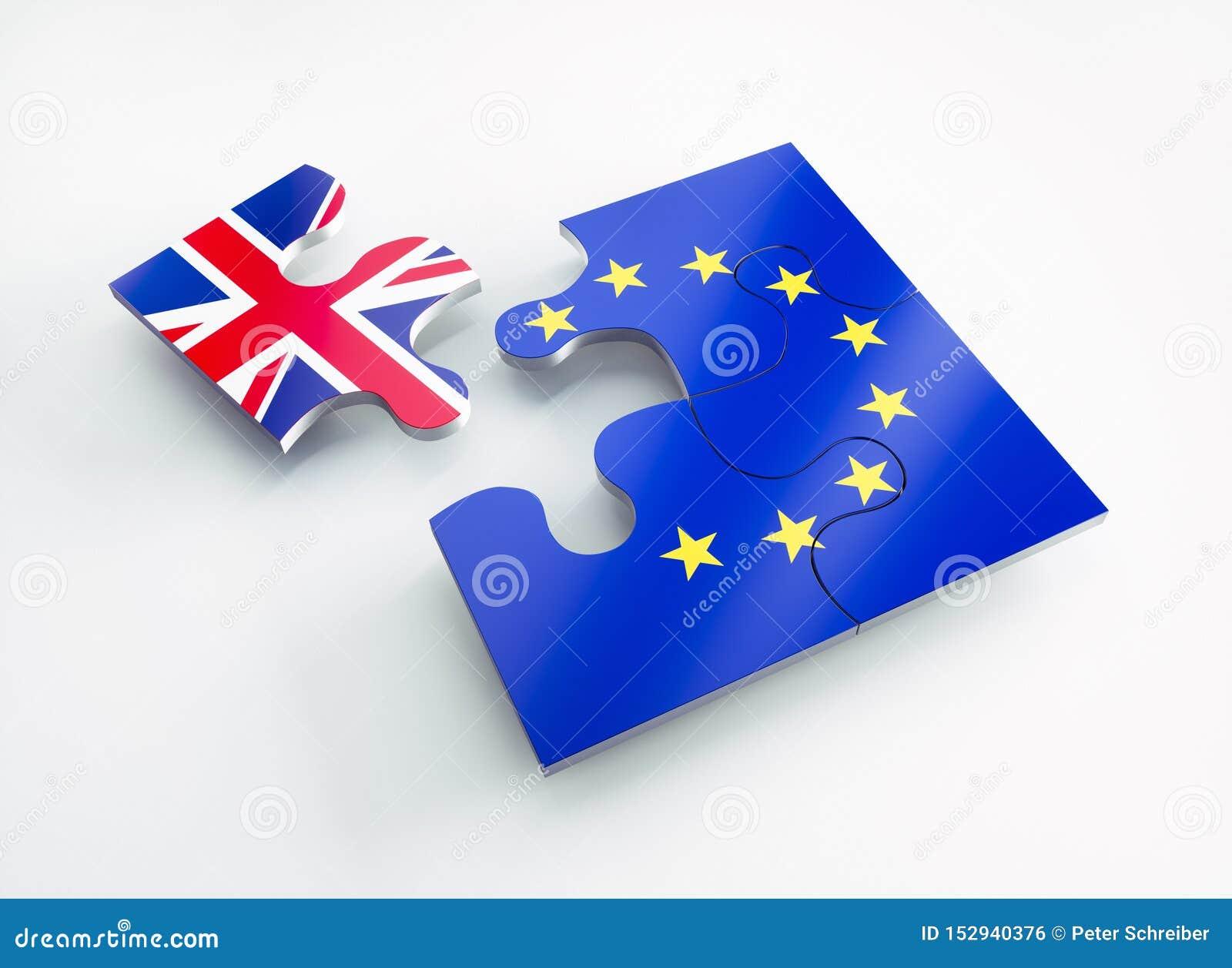 Le drapeau de l Europe et de l Angleterre a divisé des morceaux de puzzle