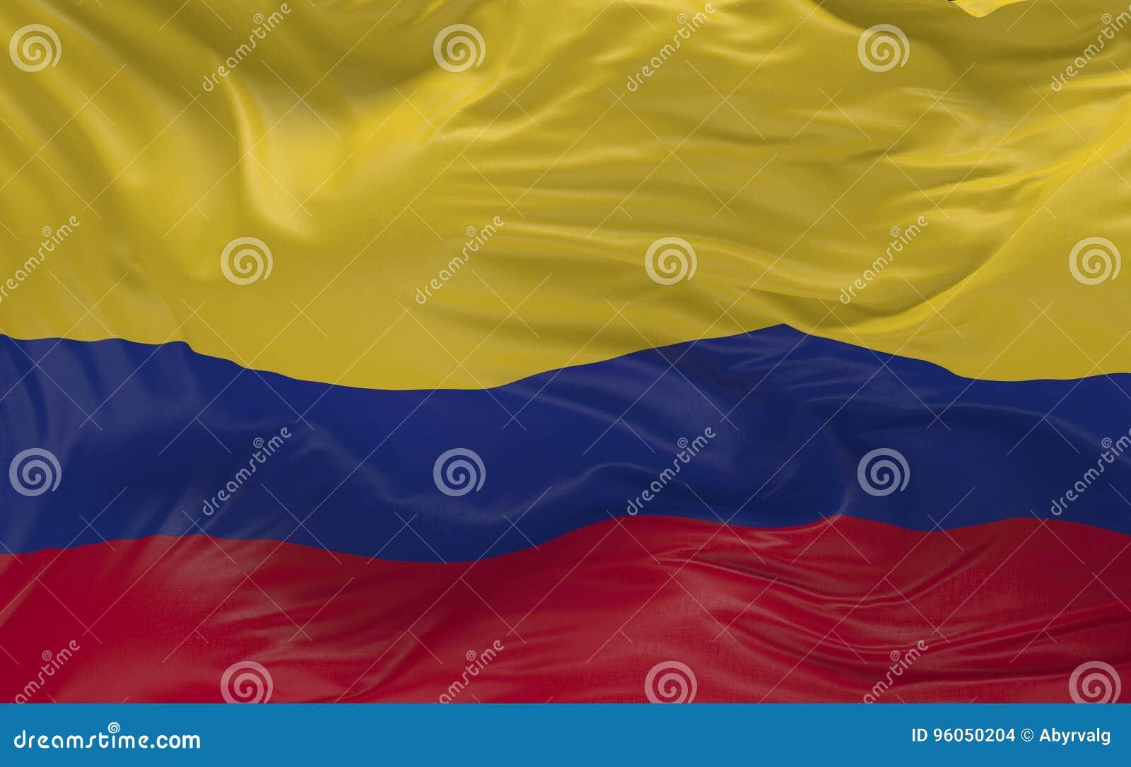 Le drapeau de la Colombie ondulant dans le vent 3d rendent