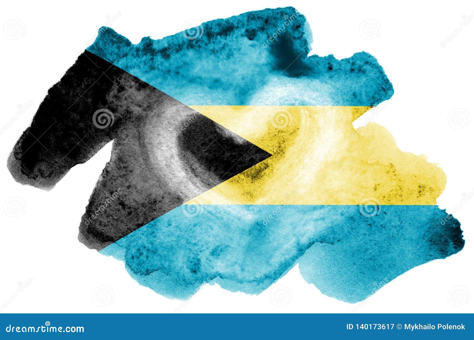 Le drapeau des Bahamas est dépeint dans le style liquide d aquarelle d isolement sur le fond blanc