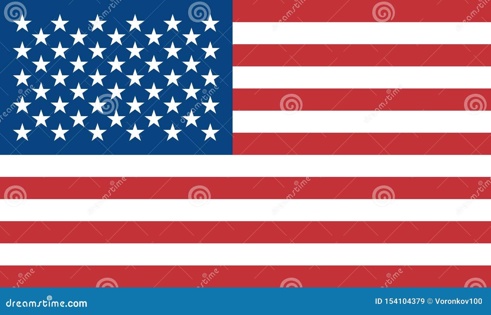 Le drapeau des Etats-Unis d Amérique est coloré Drapeau coloré de vecteur des USA Bleu, rouge, blanc Objectez le fond d isolement