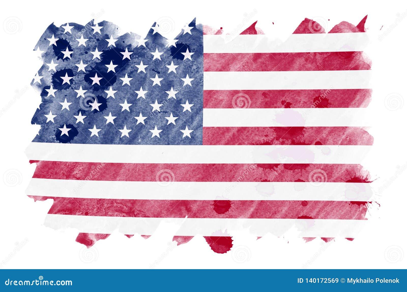 Le drapeau des Etats-Unis d Amérique est dépeint dans le style liquide d aquarelle d isolement sur le fond blanc