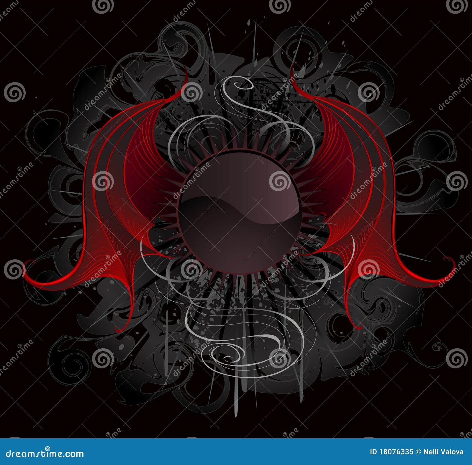 le drapeau rond gothique avec le rouge s envole le dragon