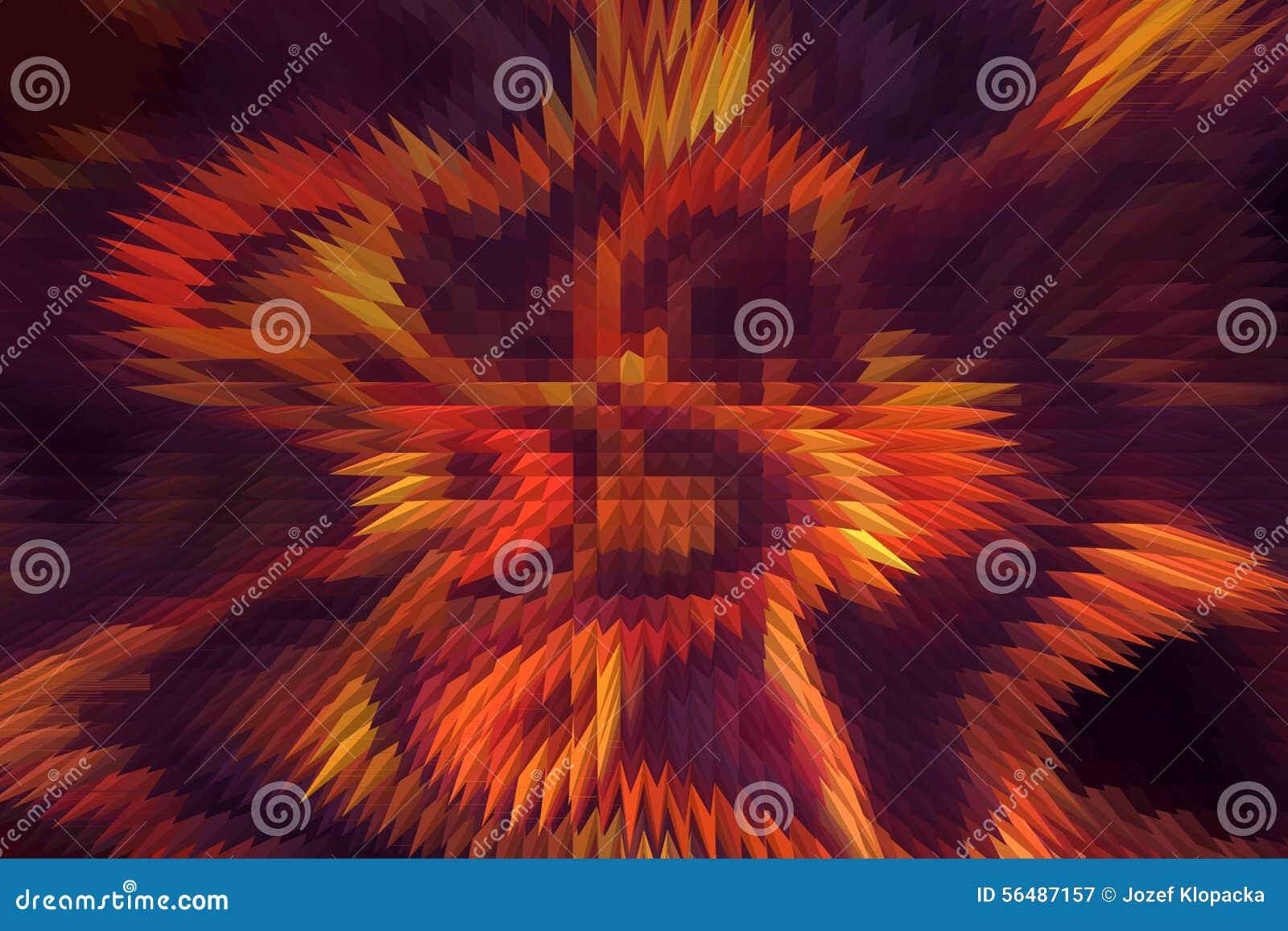 Le feu abstrait flambe sur un fond noir et violet Et effet de pyramide