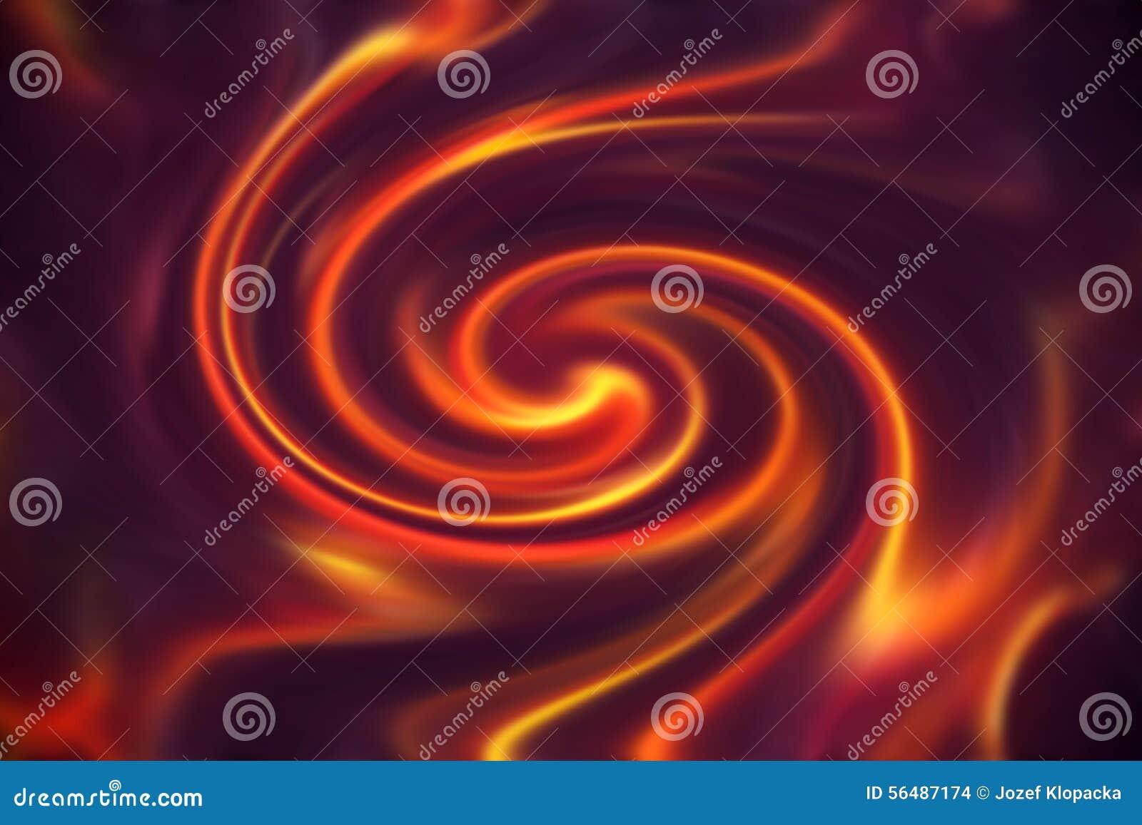 Le feu abstrait flambe sur un fond noir et violet Et effet en spirale