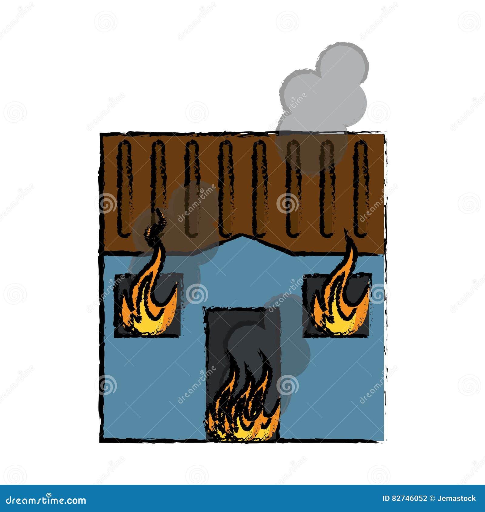 Le feu bleu de dessin de maison clate le toit de fen tres for Toit de maison dessin