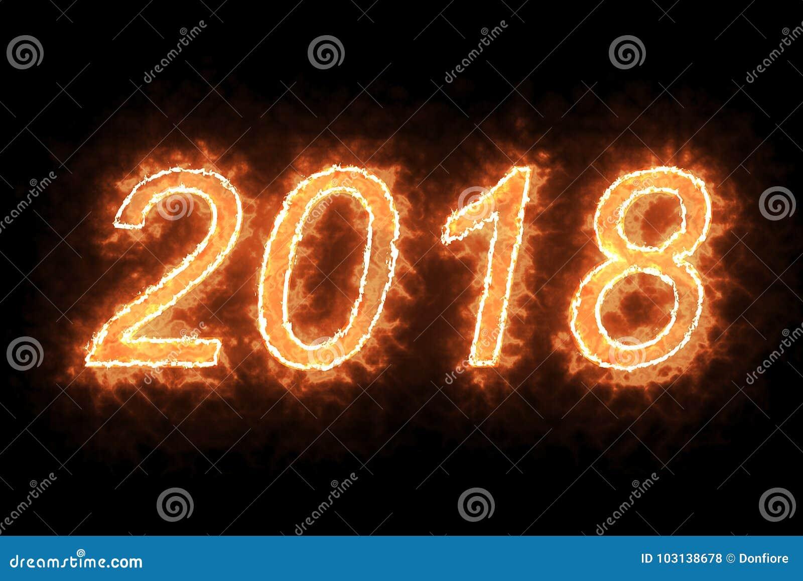 Le feu 2018 brûlant expriment le texte avec la flamme et fument en feu sur le fond noir avec le canal alpha, concept de bonne ann