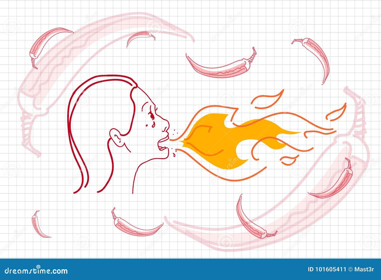 Le feu de respiration femelle, Chili Pepper Concept Sketch chaud