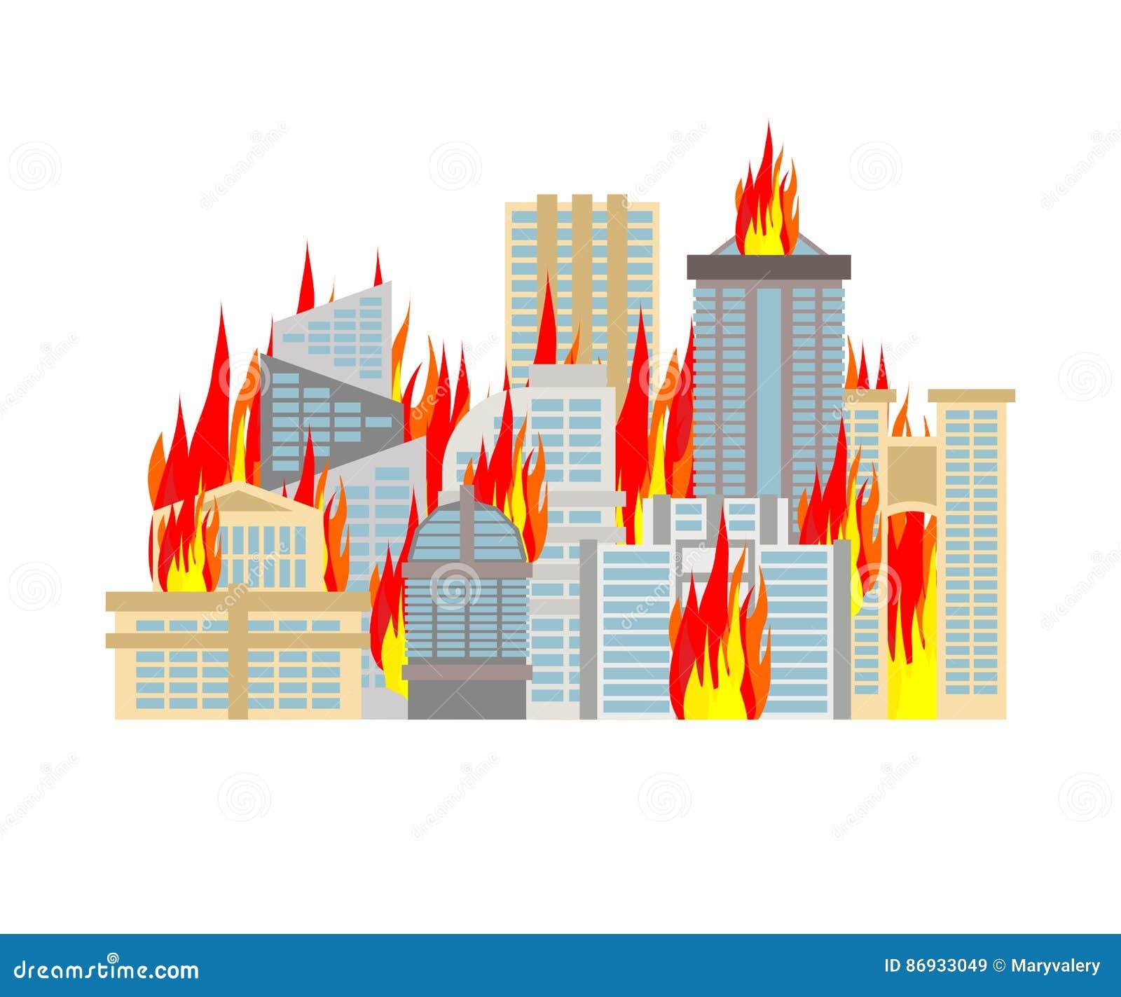 Le feu de ville ville sur des flammes Brûlure de bâtiments