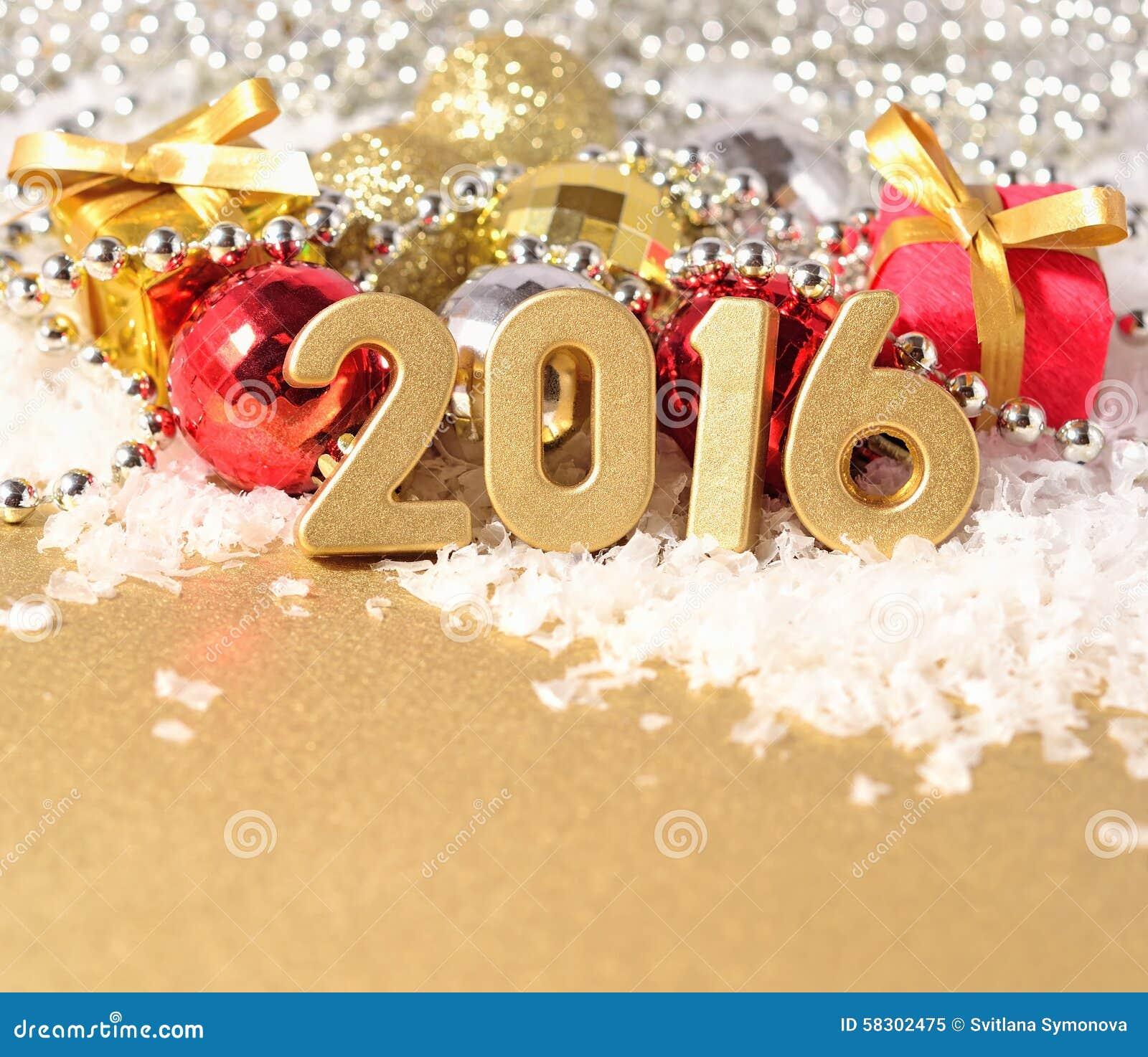 New year 2016 stock photo image 58693644 - Le Figure Da 2016 Anni E Decorazioni Dorate Di Natale Fotografia Stock Libera Da Diritti