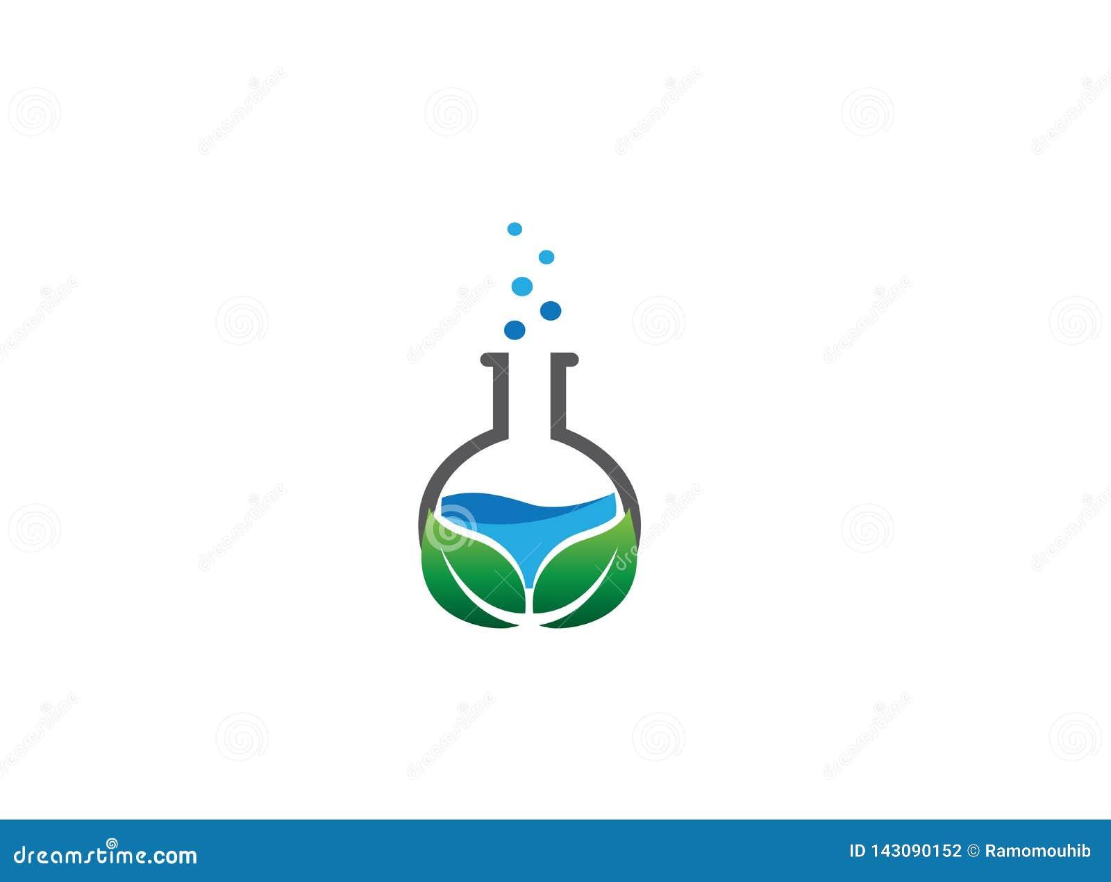 Le flacon rond de laboratoire de becher avec un intérieur de produit chimique et les feuilles font des bulles pour la conception