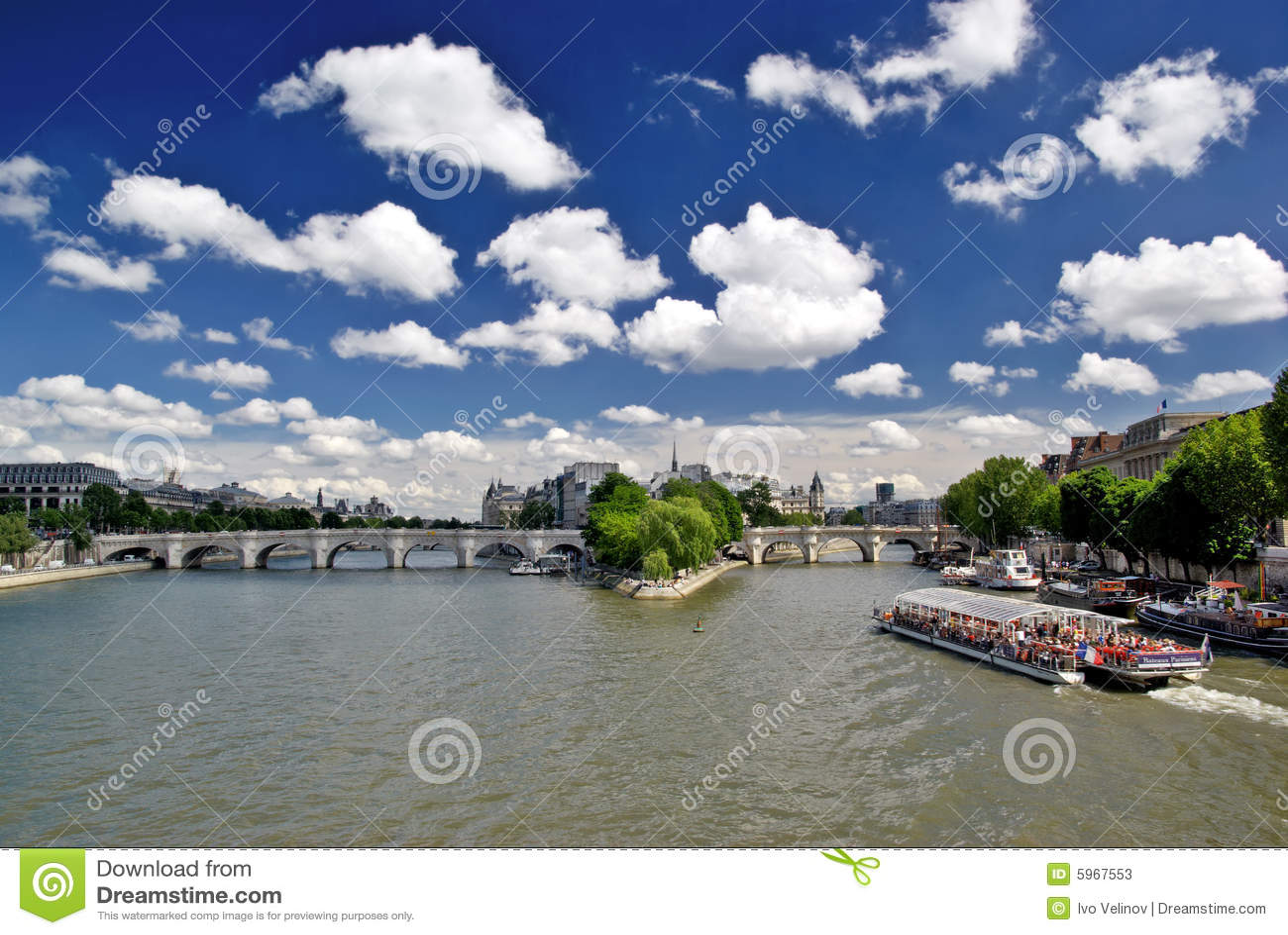 Le fleuve de Seine, Pount Neuf et citent l île