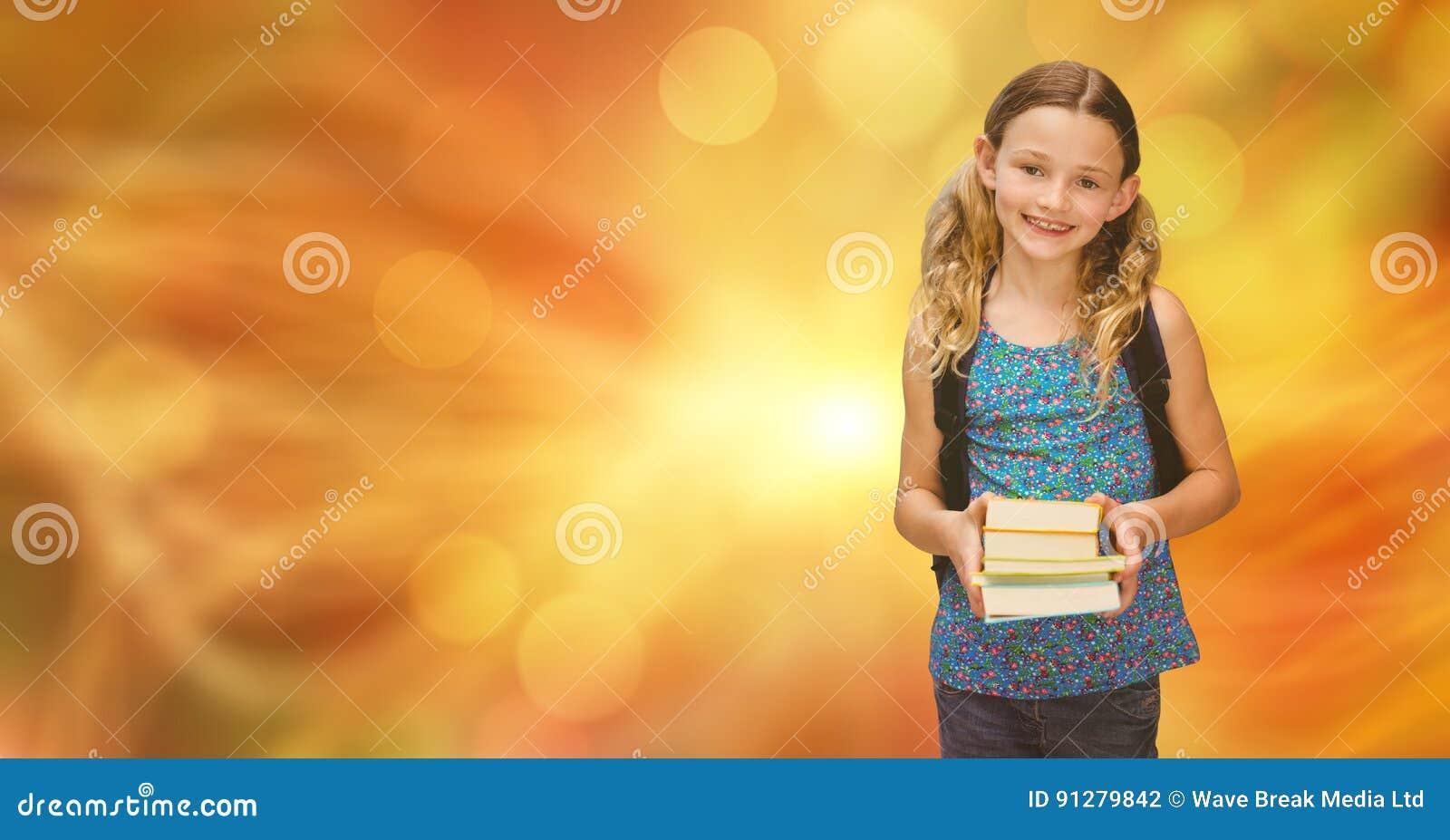 Le flickainnehavböcker mot suddighetsbakgrund