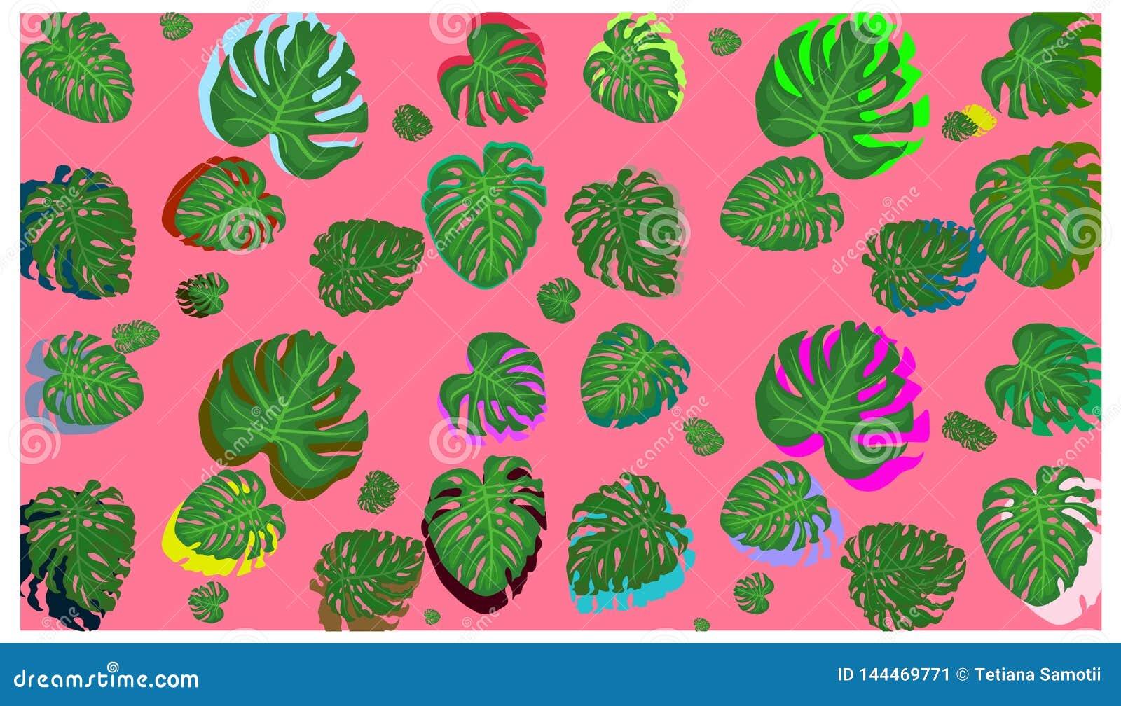 Le foglie di palma tropicali, giungla lascia a vettore senza cuciture il fondo floreale del modello