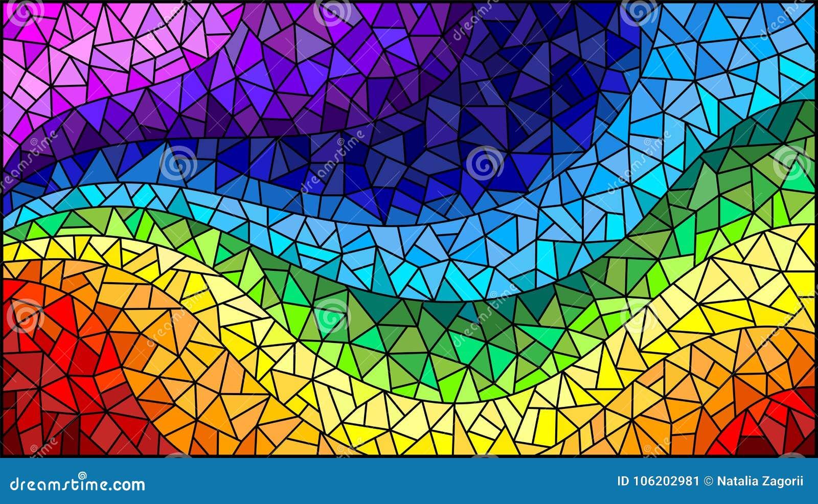 Le fond d abrégé sur illustration en verre souillé, les éléments colorés a arrangé dans le spectre d arc-en-ciel