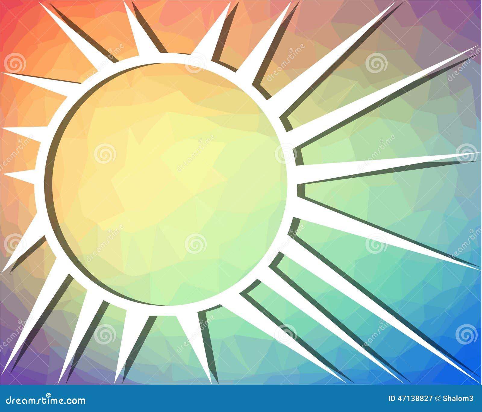 Le fond d 39 arc en ciel avec le dessin du soleil sur la - Dessin du soleil ...