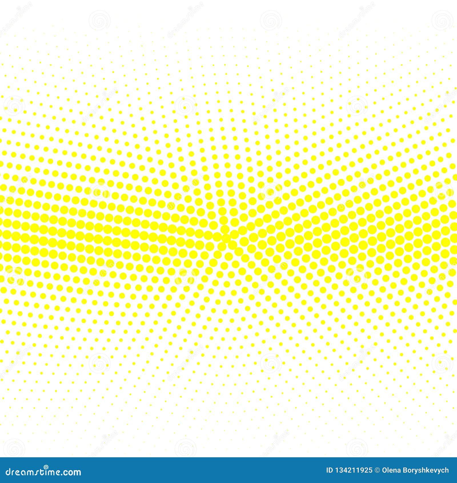 Le fond des points jaunes de différentes tailles ont la densité différente sur le blanc