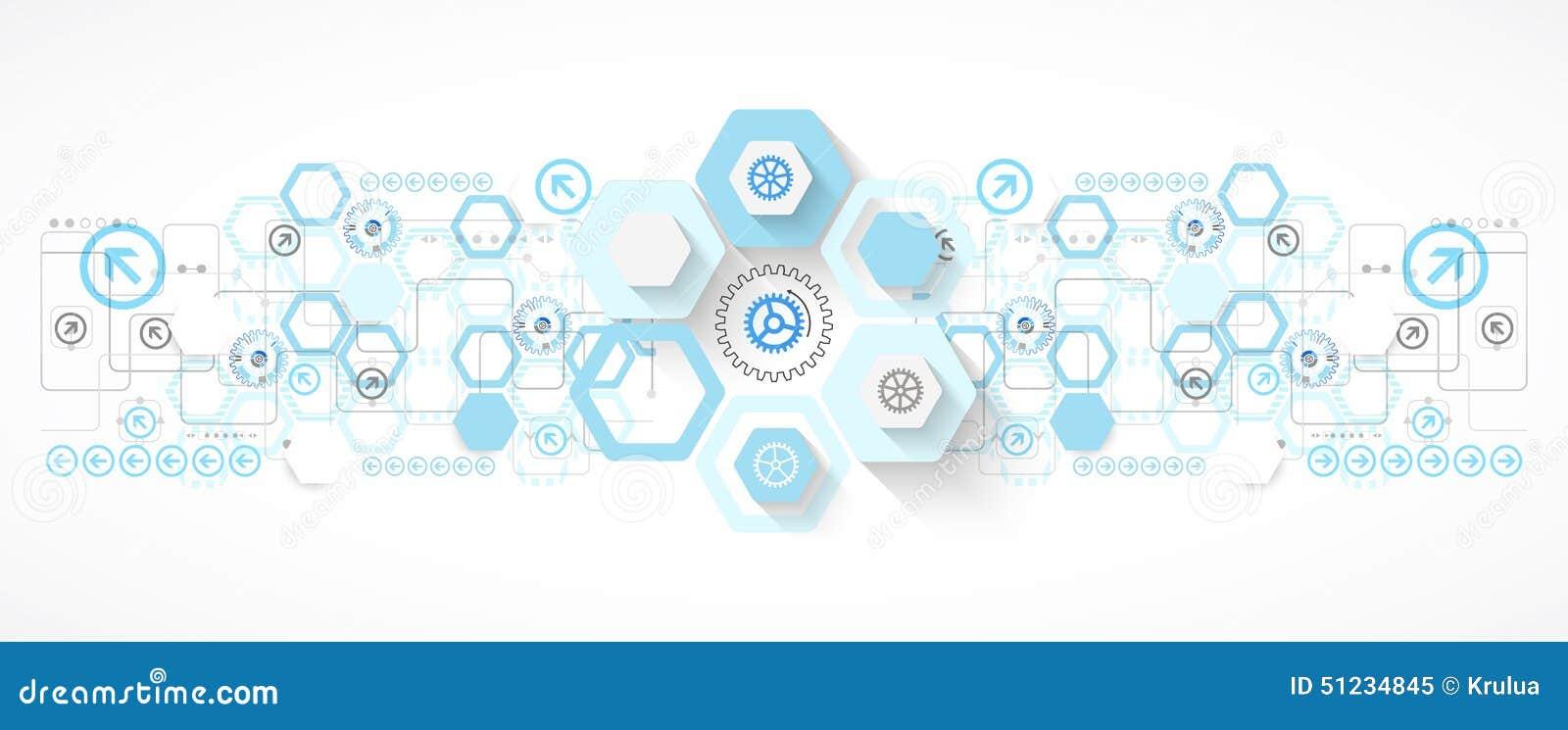Le fond futuriste d hexagone bleu abstrait pour la conception fonctionne