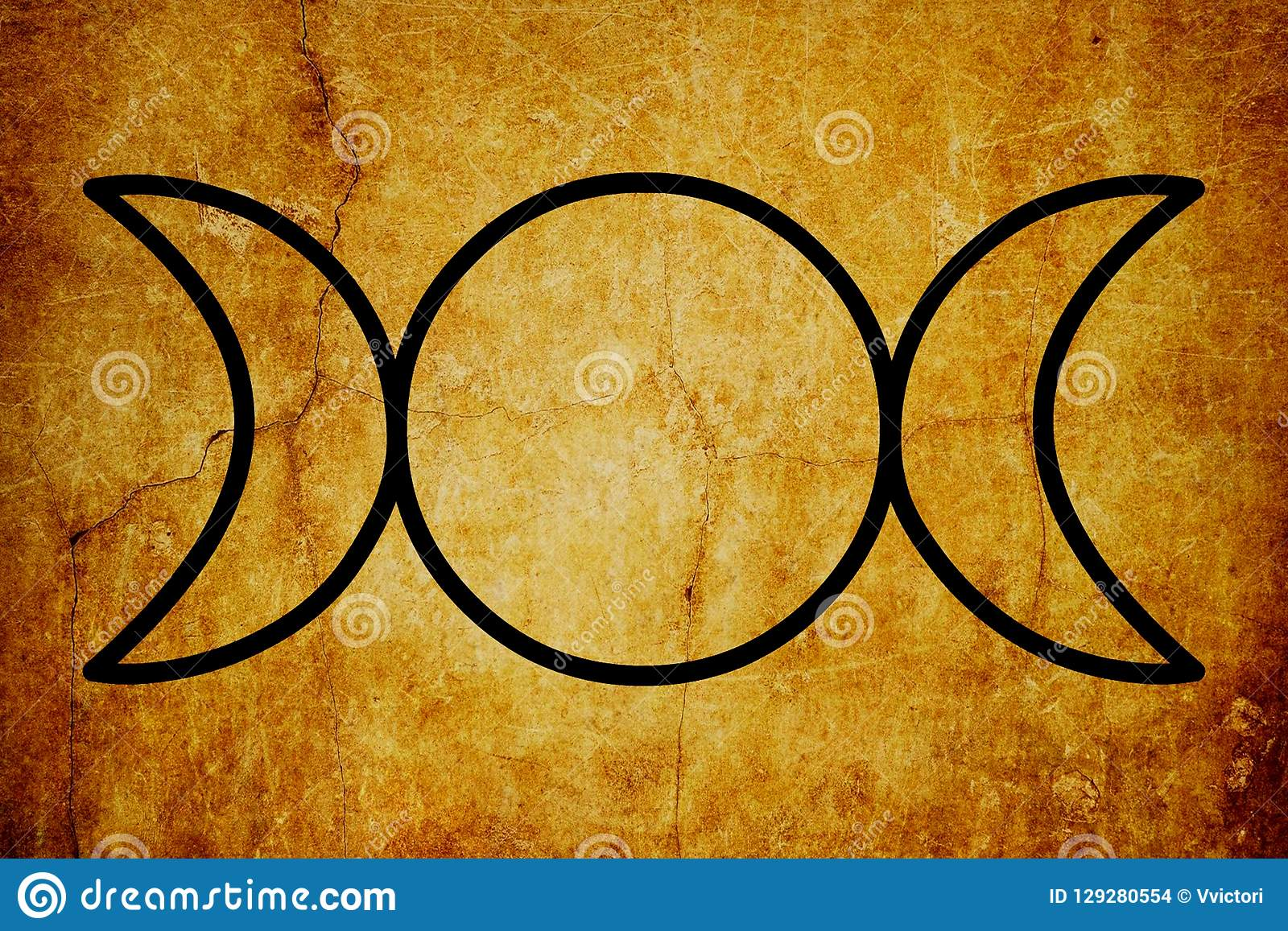 Le fond magique de vintage de symboles de symbole triple de déesse