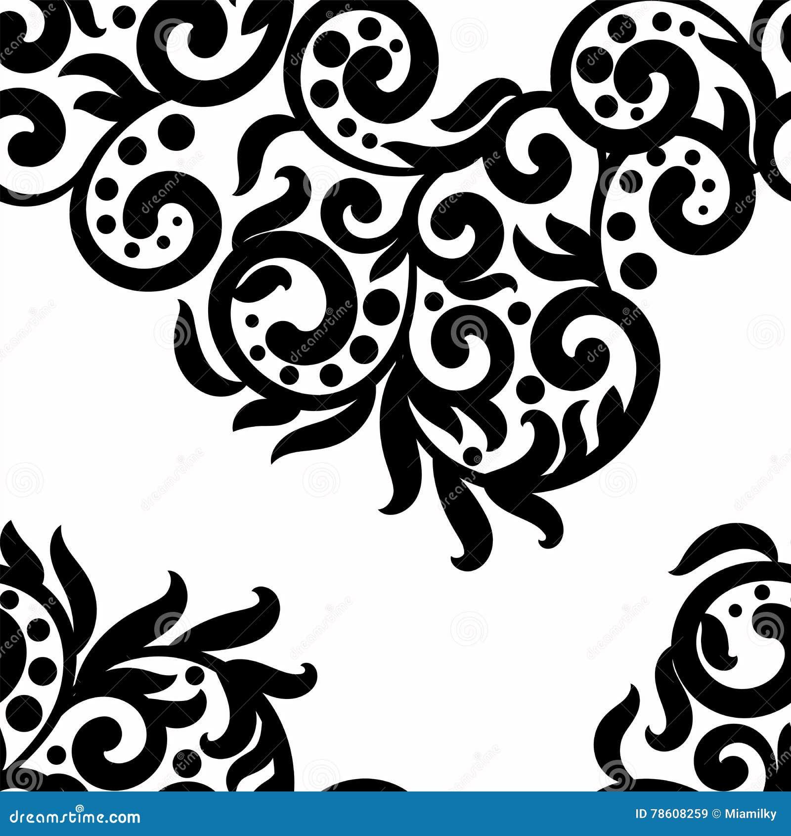 Le fond noir et blanc, ornement de texture de dentelle de vecteur, monochrome sans couture onduleux de modèle tourbillonne, des p