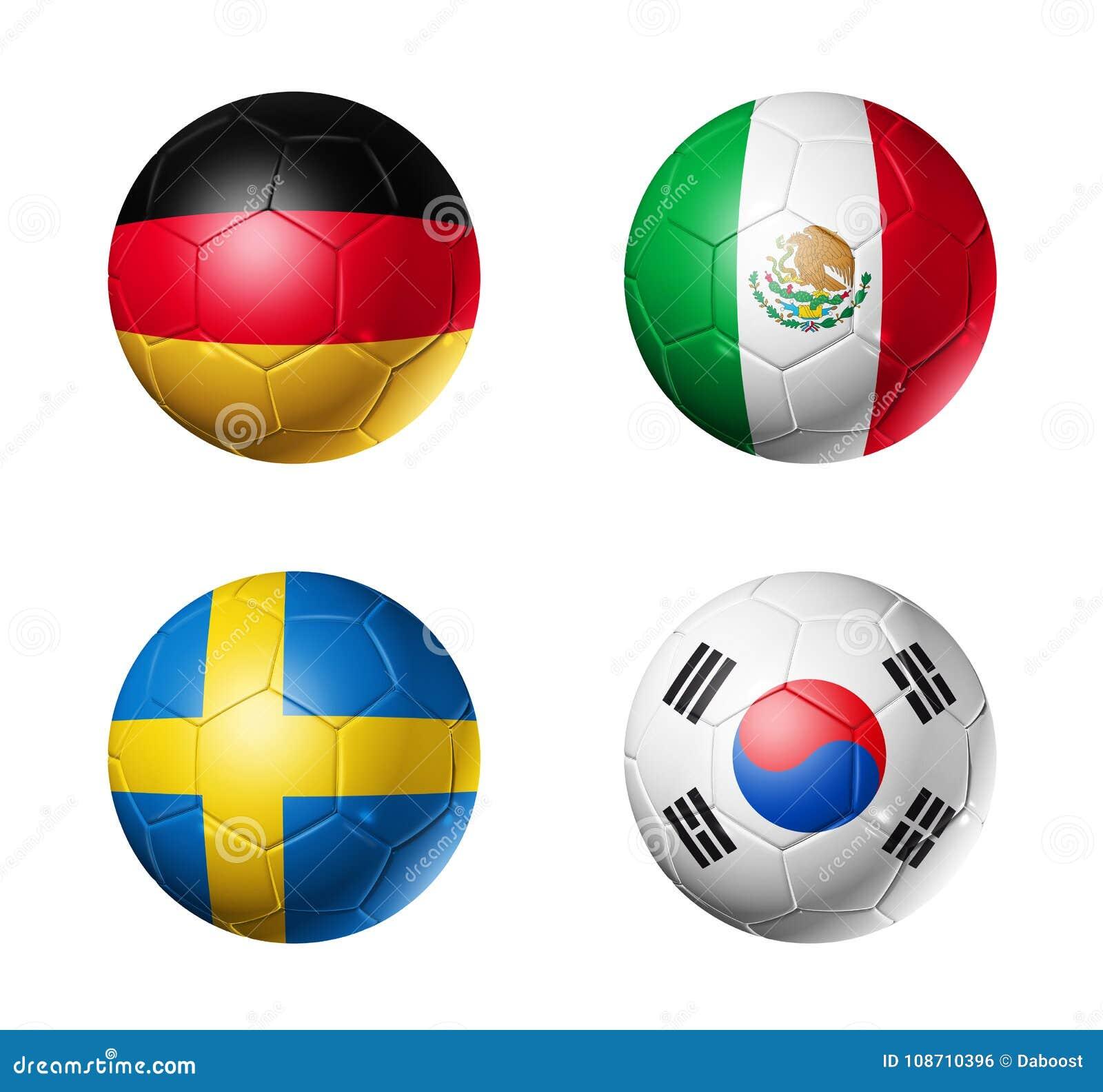 Le football de la Russie drapeaux de 2018 groupes F sur des ballons de football