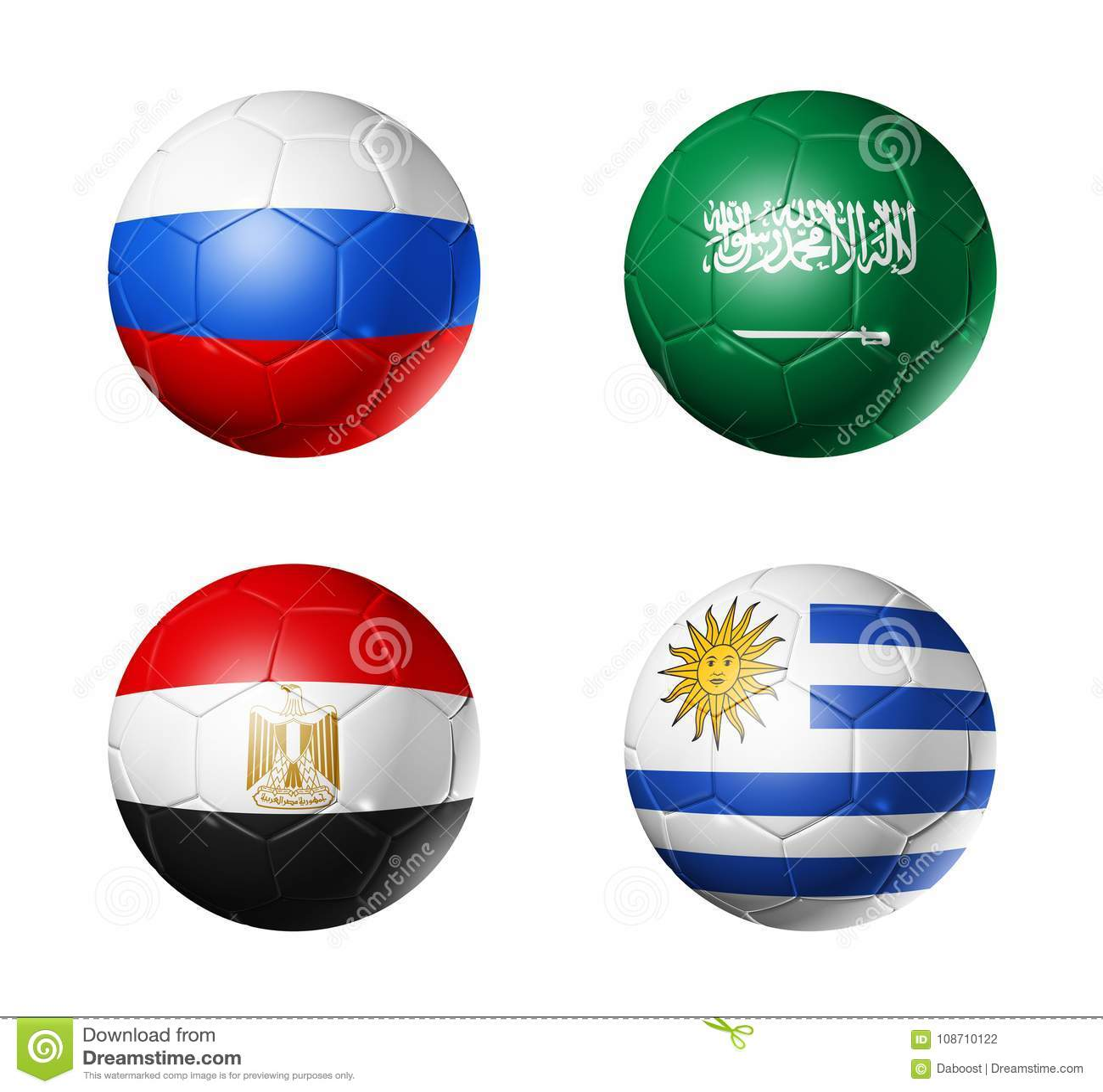 Le football de la Russie drapeaux de 2018 groupes A sur des ballons de football
