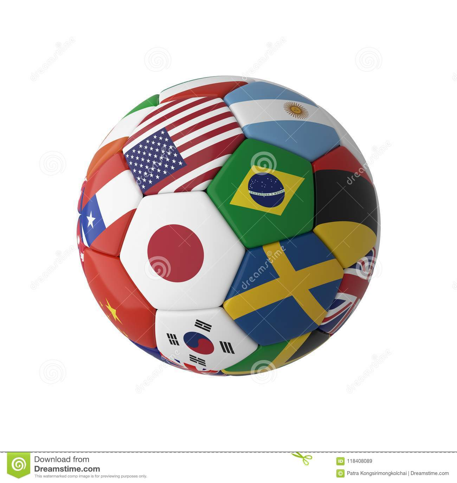 Le football du football avec des drapeaux de pays d isolement sur le fond blanc