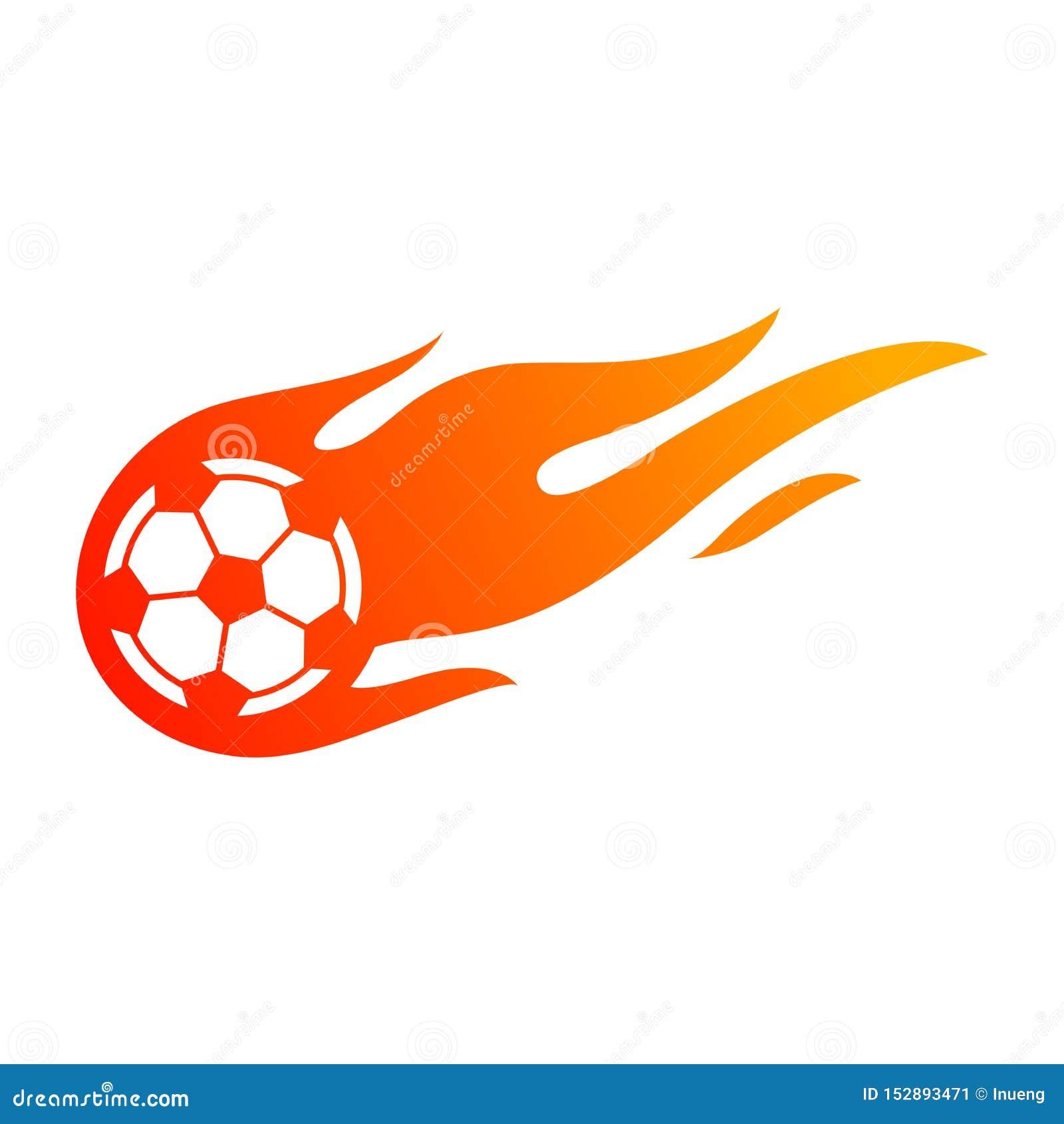 Le football ou le football avec le symbole de flamme du feu