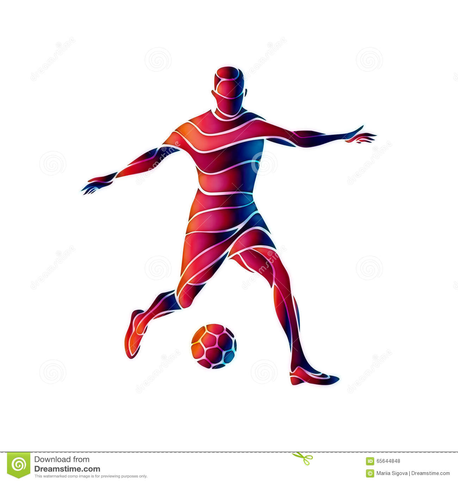Le footballeur donne un coup de pied la bille L illustration abstraite colorée sur le fond blanc