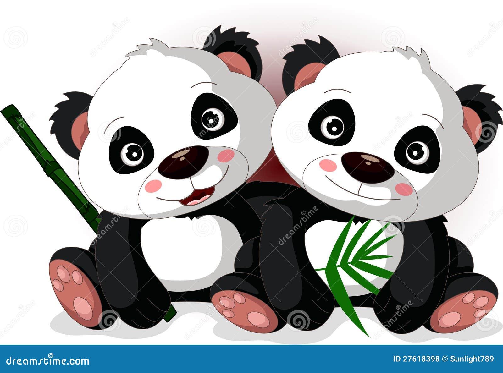 le fr re du panda mignon de dessin anim illustration stock illustration du noir curieux. Black Bedroom Furniture Sets. Home Design Ideas