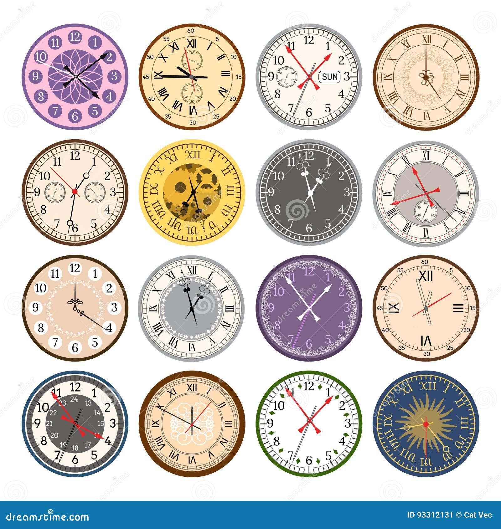 Le frecce moderne d annata variopinte dell orologio del quadrante di indice delle parti dei fronti di orologio numera l illustraz