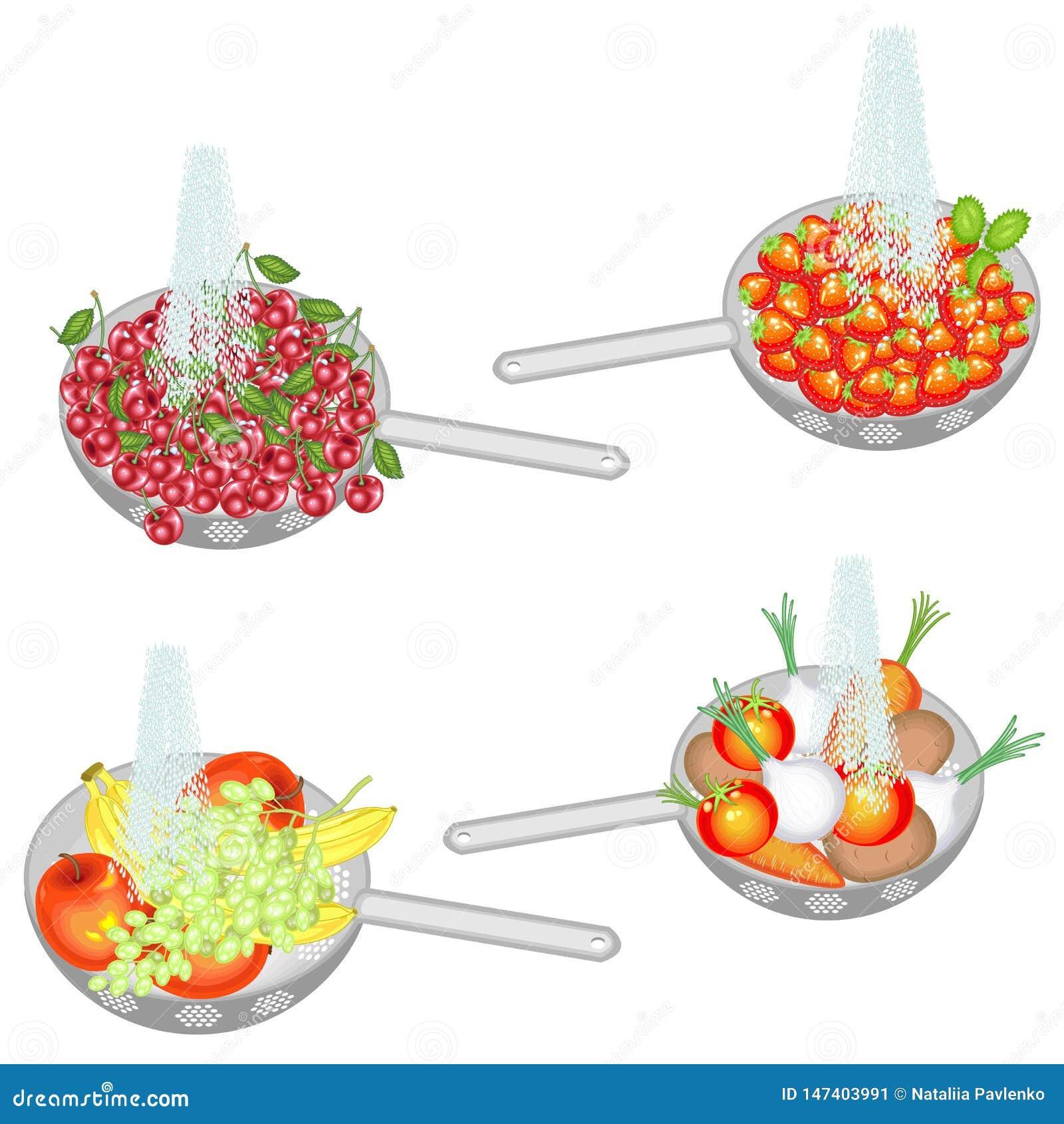Le fruit juteux est lavé sous l eau courante Collection de cerises de lavage de passoire, fraises, fruits, légumes Fruit frais