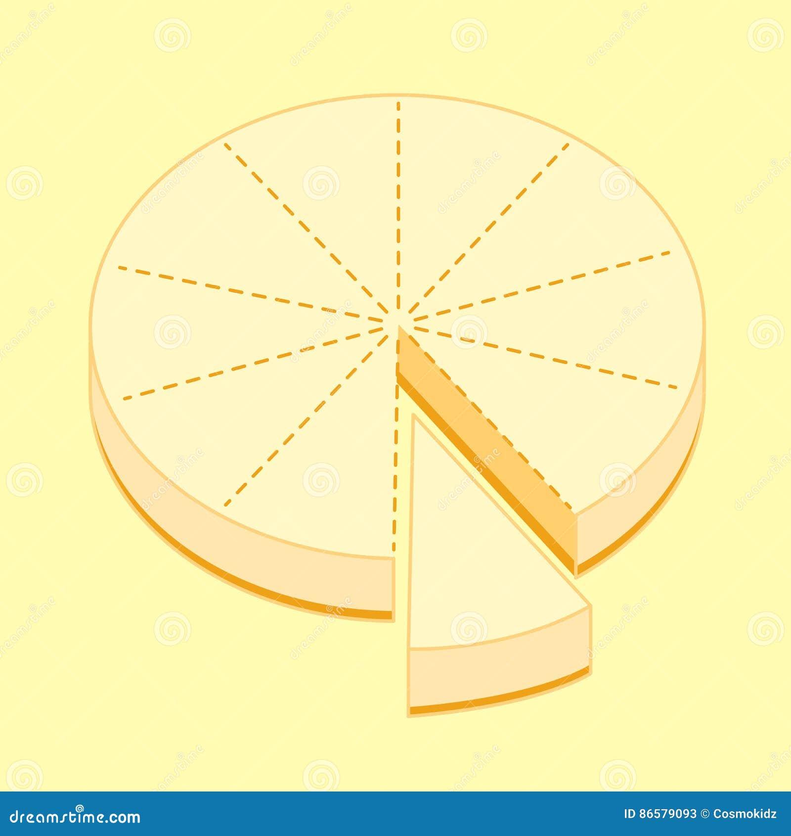 Le gâteau au fromage dix morceaux divisent le plan, illustration de croquis