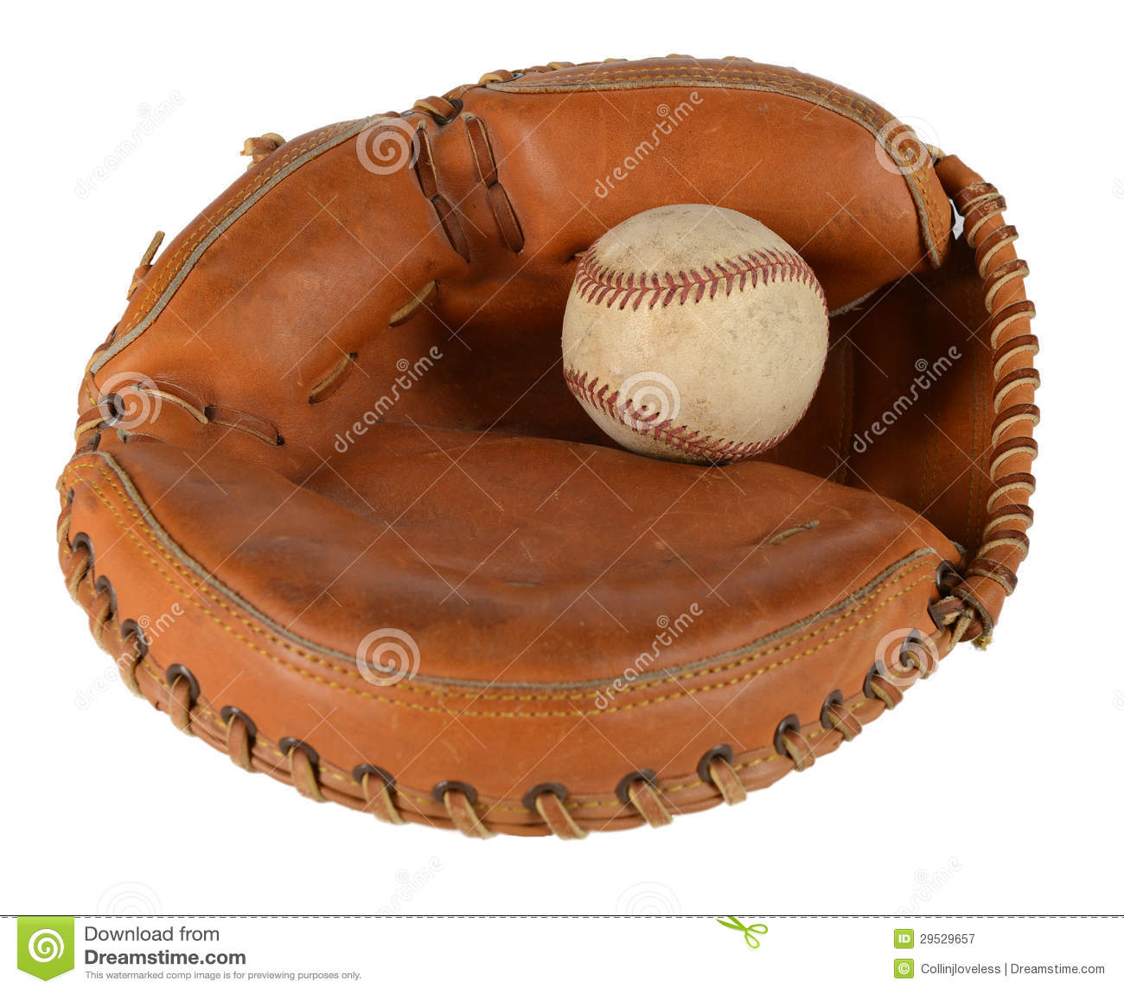 Le gant du receveur avec le base-ball