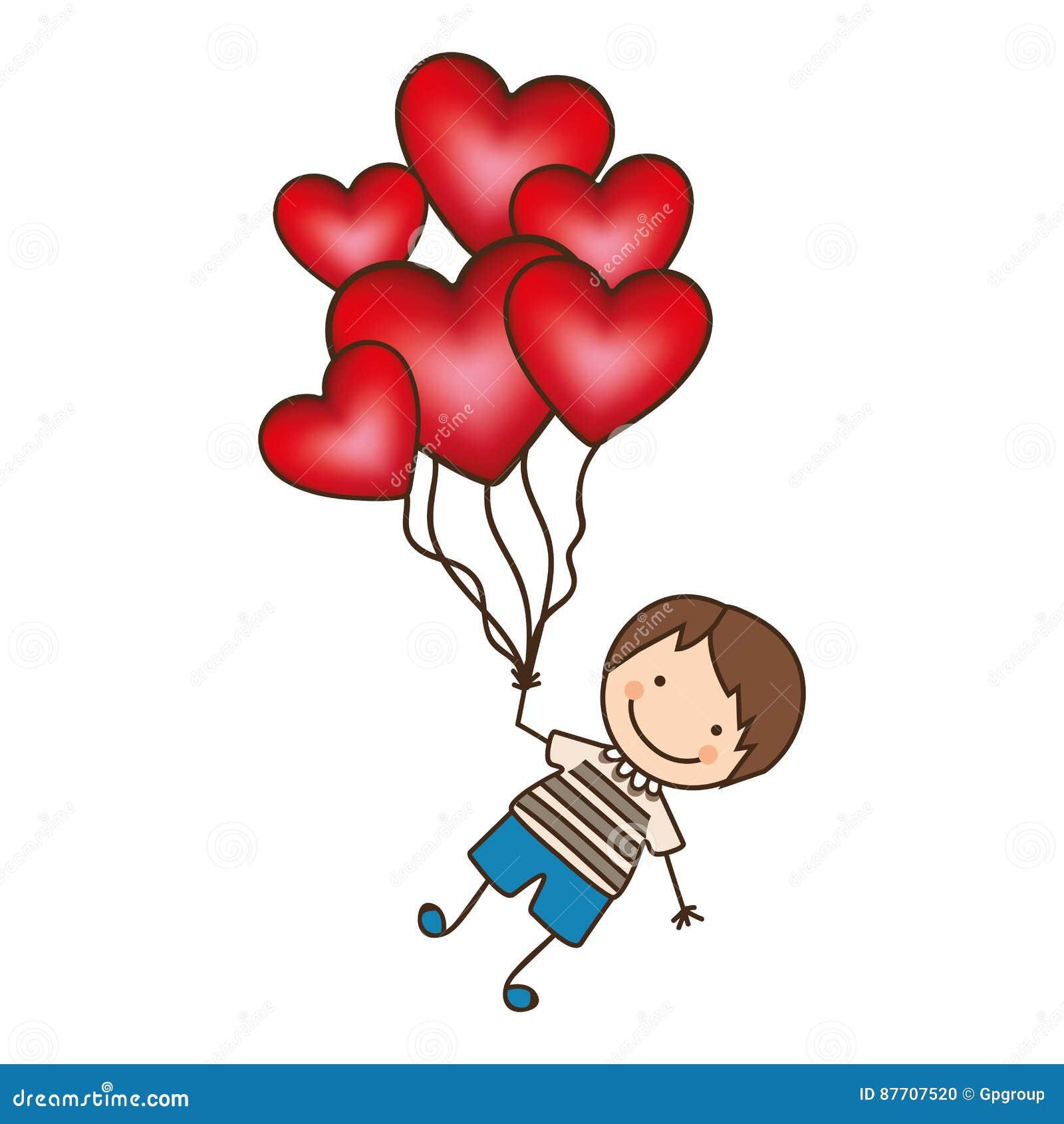 Le garçon avec le coeur rouge monte en ballon dans les mains