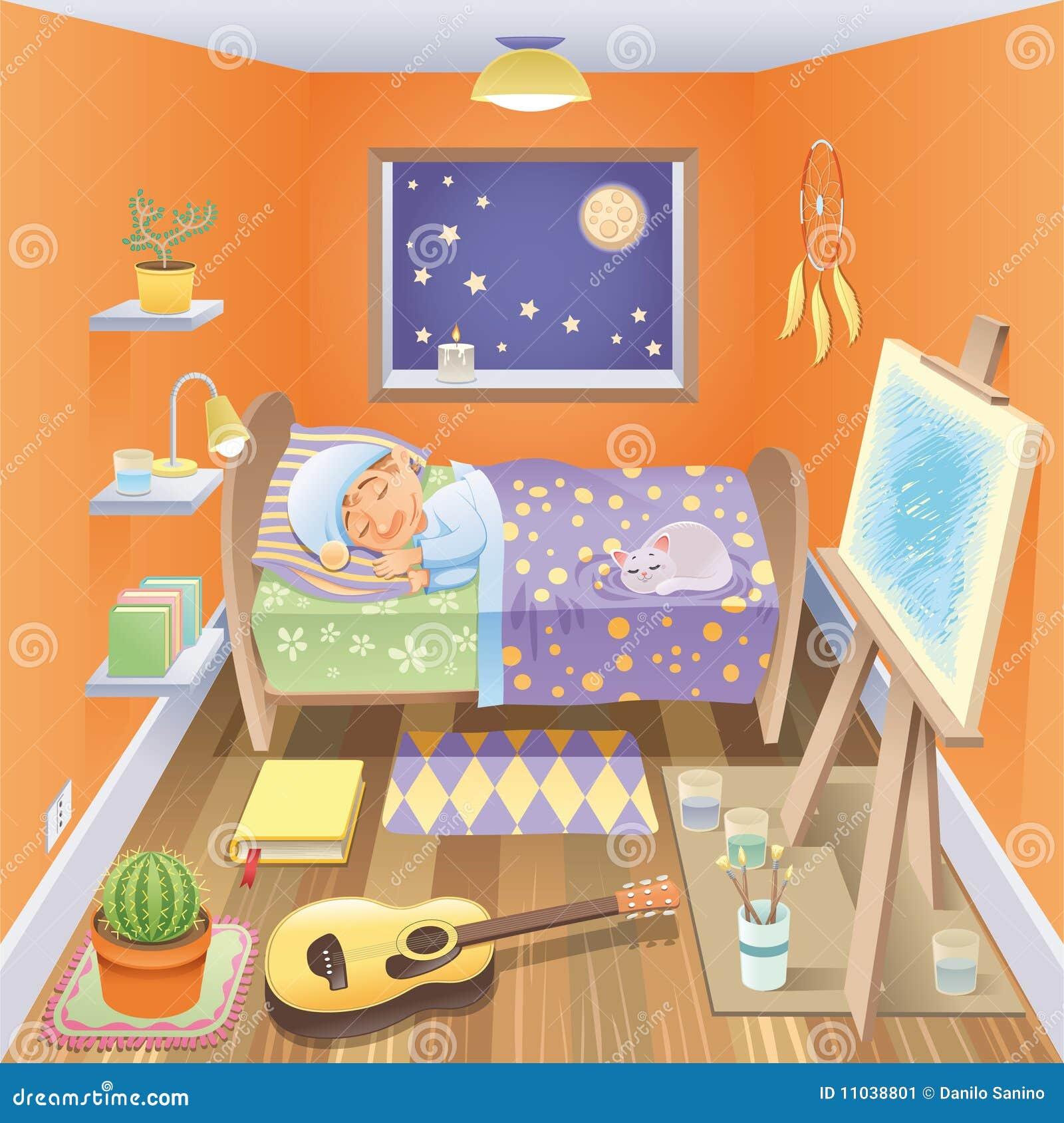 le gar on dort dans sa chambre coucher illustration de vecteur illustration du illustration. Black Bedroom Furniture Sets. Home Design Ideas