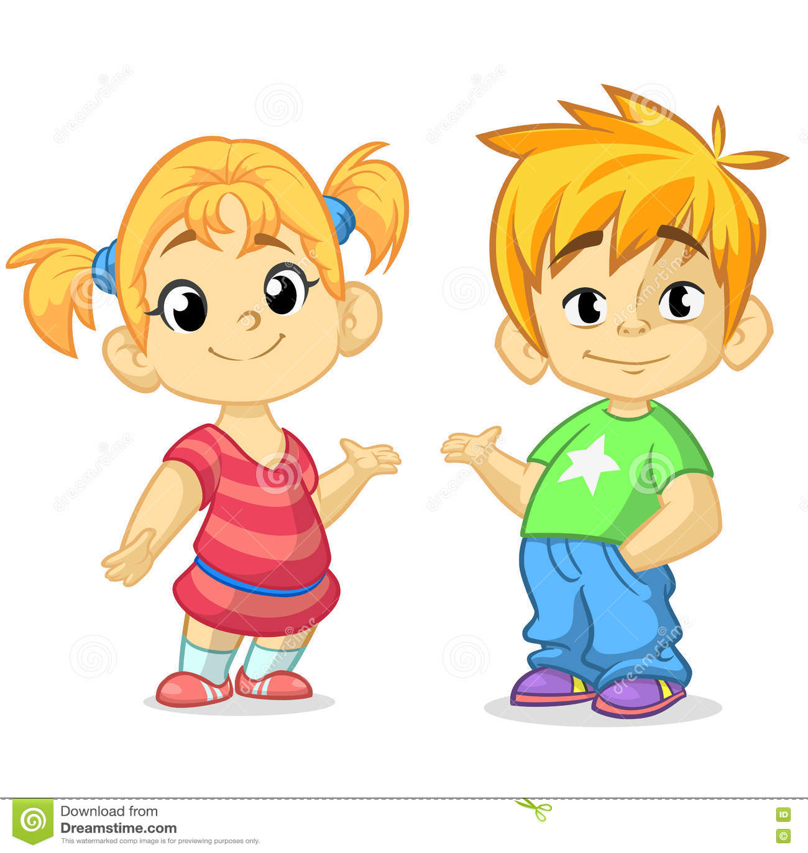 Le garçon et la fille mignons de bande dessinée avec des mains lèvent l illustration de vecteur Conception de salutation de garço