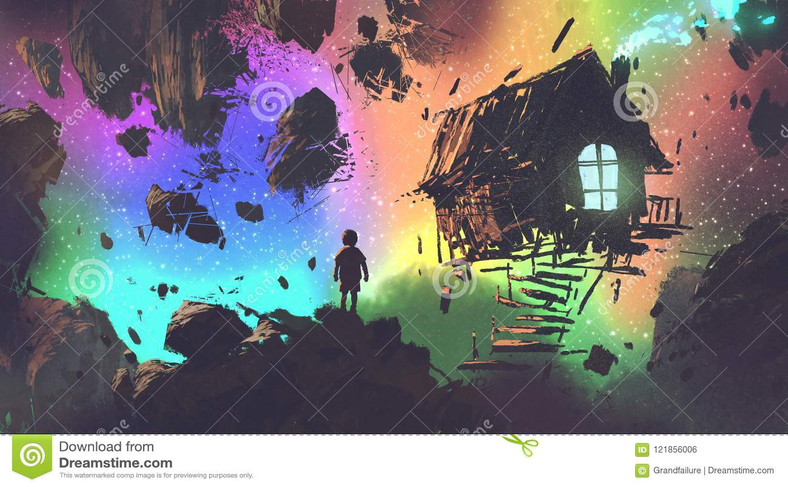 Le garçon et une maison dans un endroit étrange