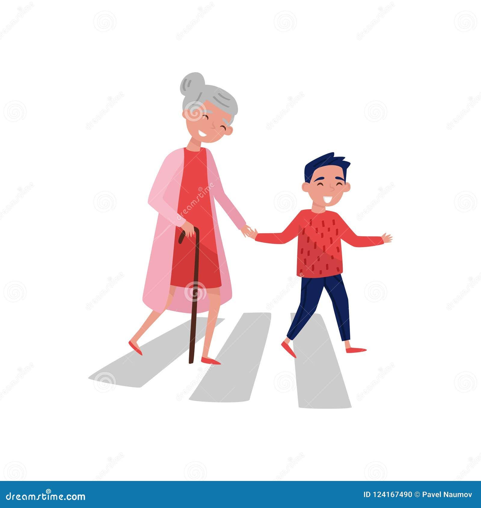 Le garçon poli aide la femme agée à traverser la route Enfant gai d école et vieille dame Enfant avec de bonnes façons Vecteur pl