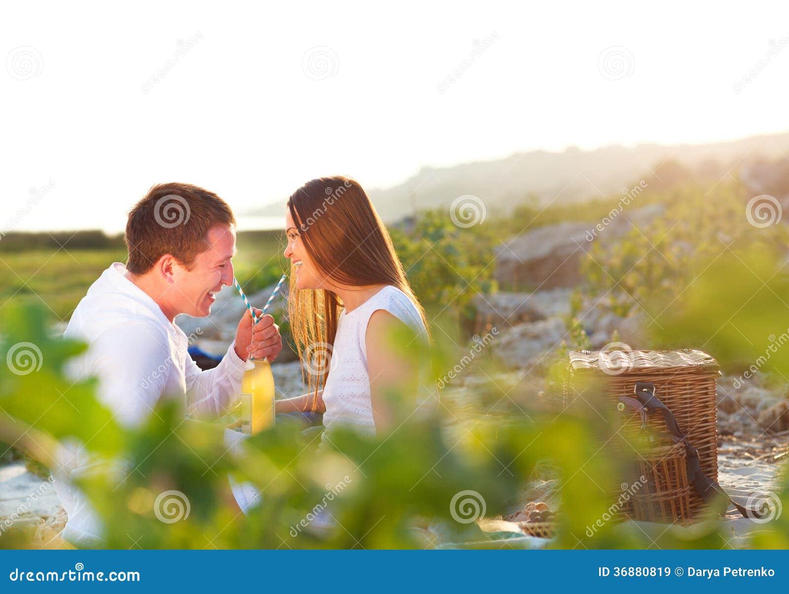 Download Le Giovani Coppie Felici Nell'amore All'estate Fanno Un Picnic Immagine Stock - Immagine di adulto, casuale: 36880819