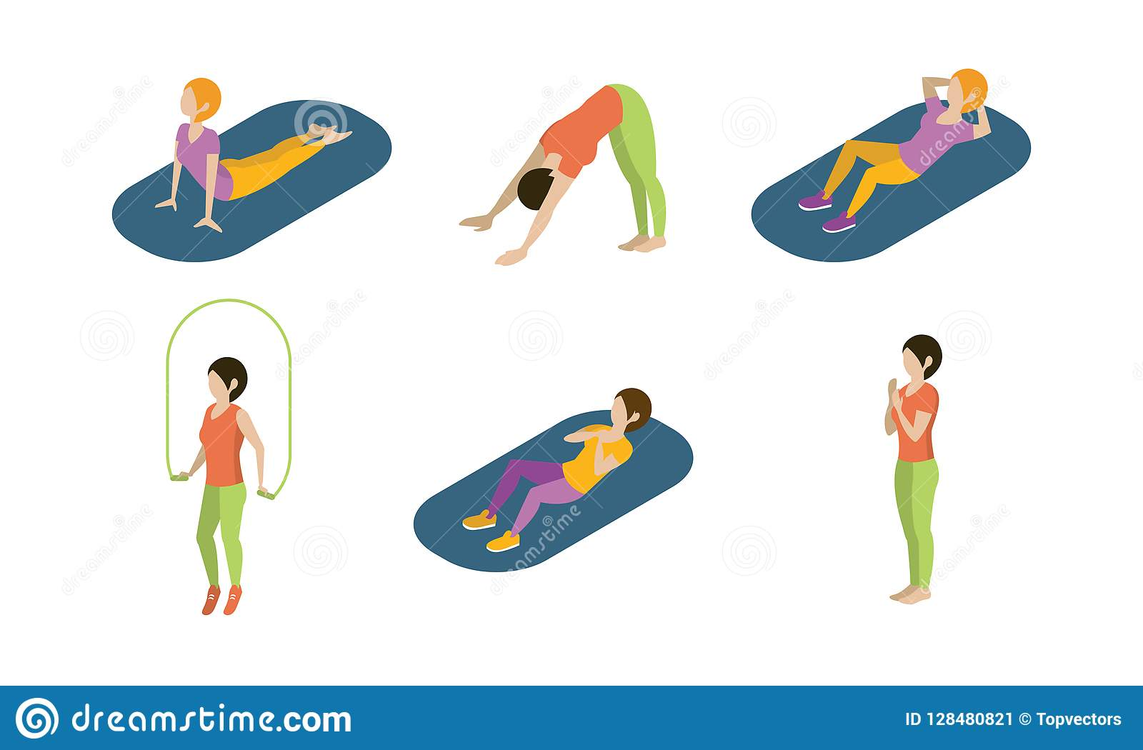 Le giovani donne che fanno l insieme di esercizi di yoga, ragazze che praticano l yoga vector l illustrazione su un fondo bianco