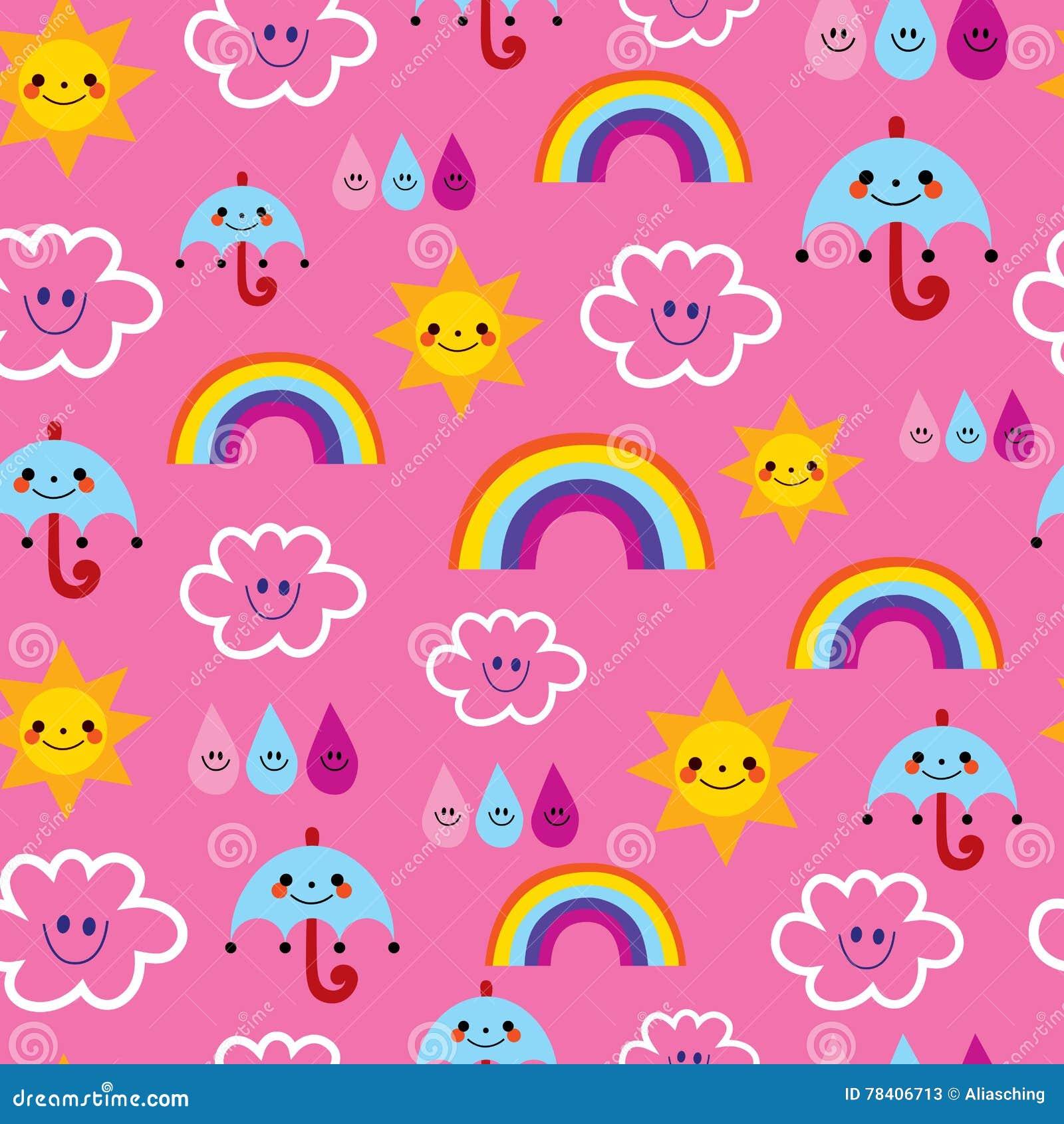 Le gocce di pioggia degli ombrelloni si appanna il modello senza cuciture del tempo dei caratteri degli arcobaleni
