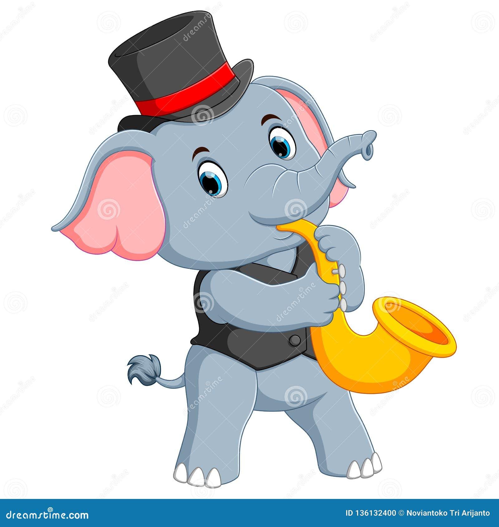 Le grand éléphant gris emploie le chapeau noir et jouer la trompette