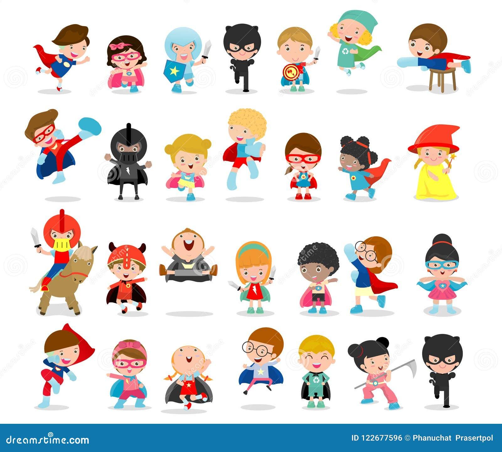 Le grand ensemble de bande dessinée de super héros d enfant utilisant les costumes de bandes dessinées, enfants avec des costumes