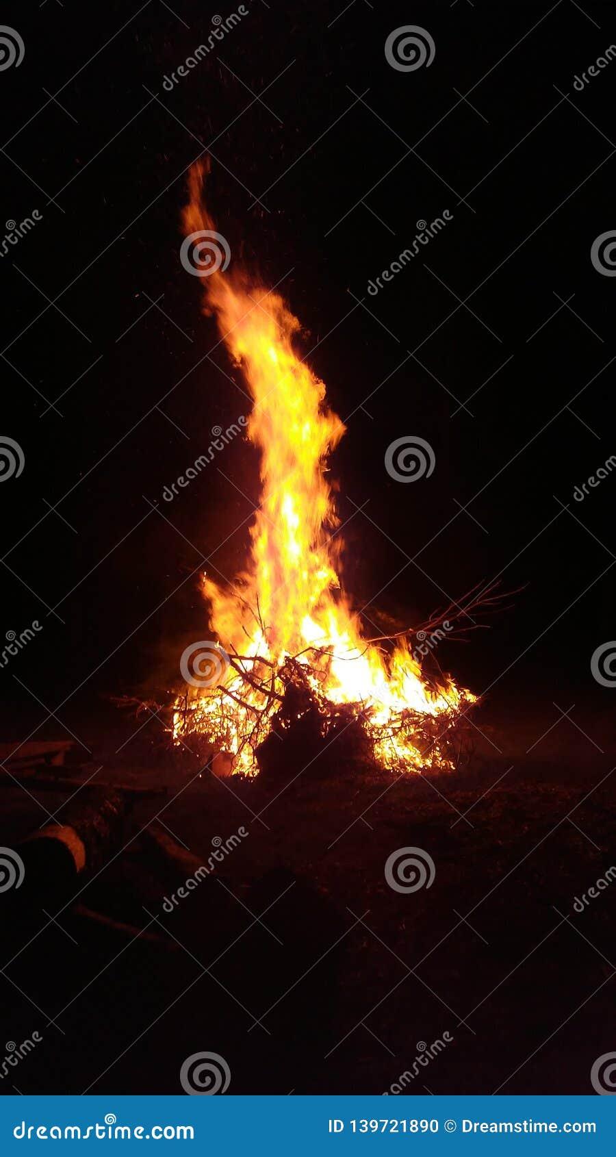 Le grand feu grand avec les flammes oranges