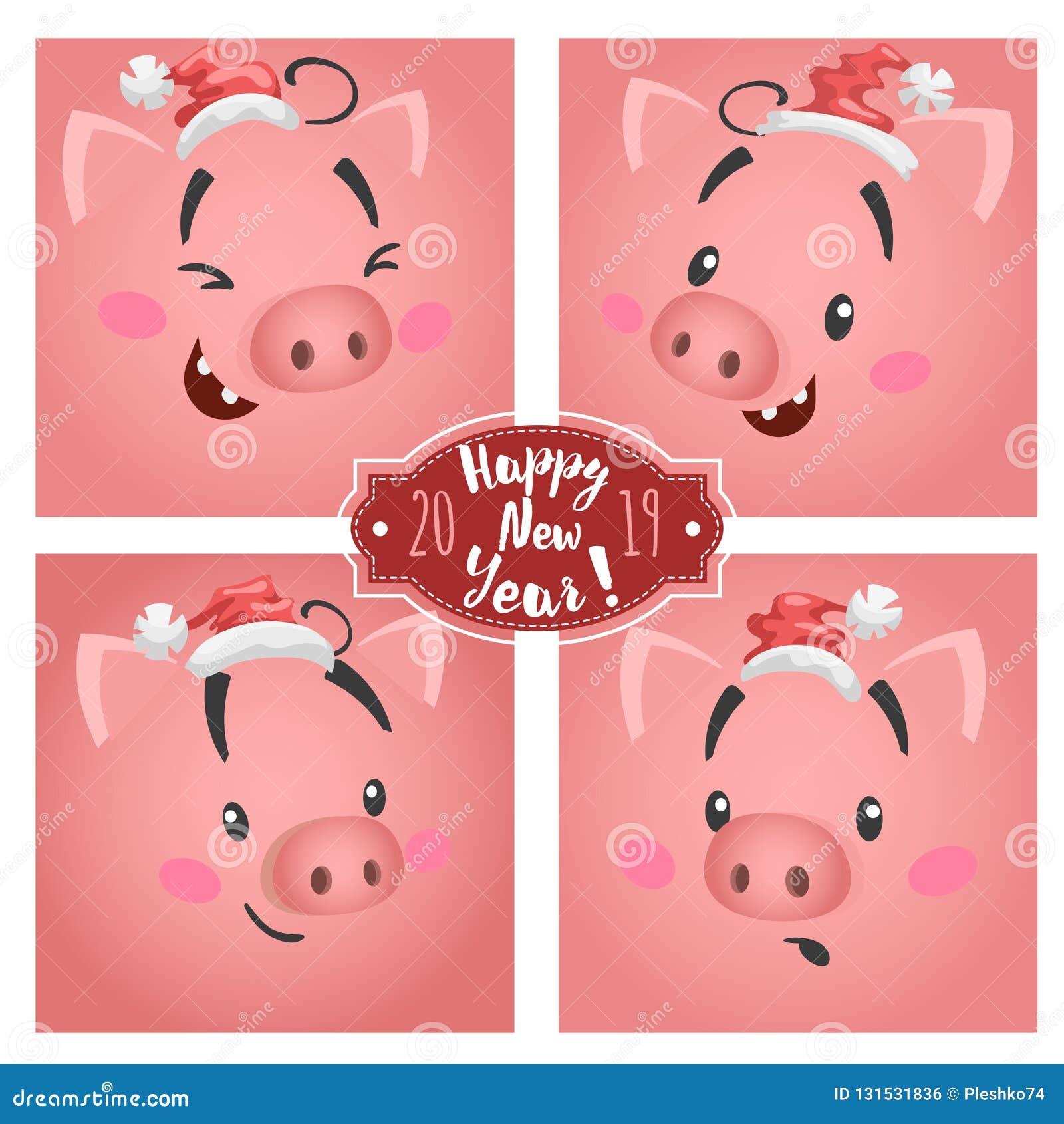 Le grand porc drôle mignon fait face dans des chapeaux de Noël réglés Pour des conceptions de cartes de voeux et de calendriers S